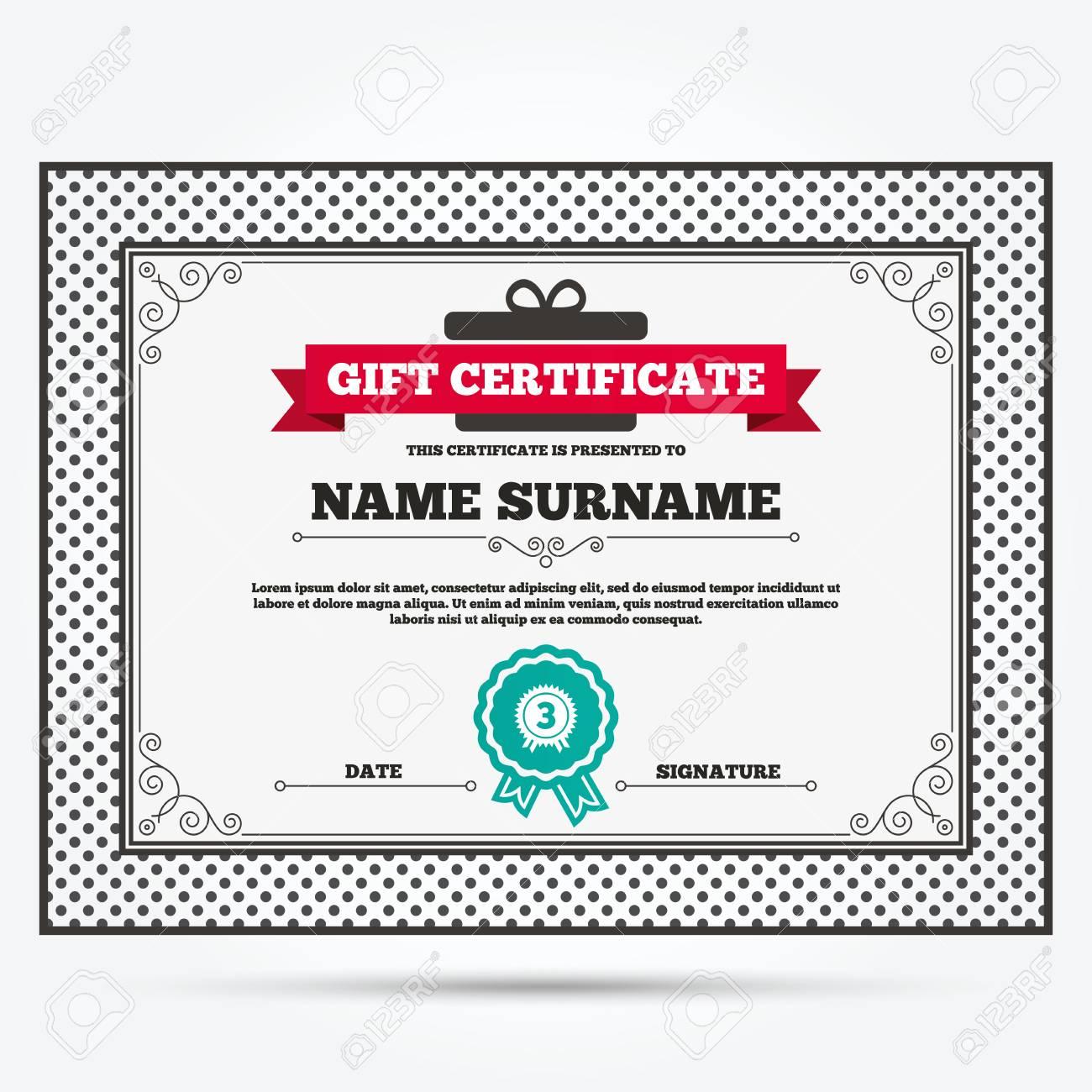 Geschenkgutschein. Der Dritte Platz Auszeichnung Zeichen-Symbol ...