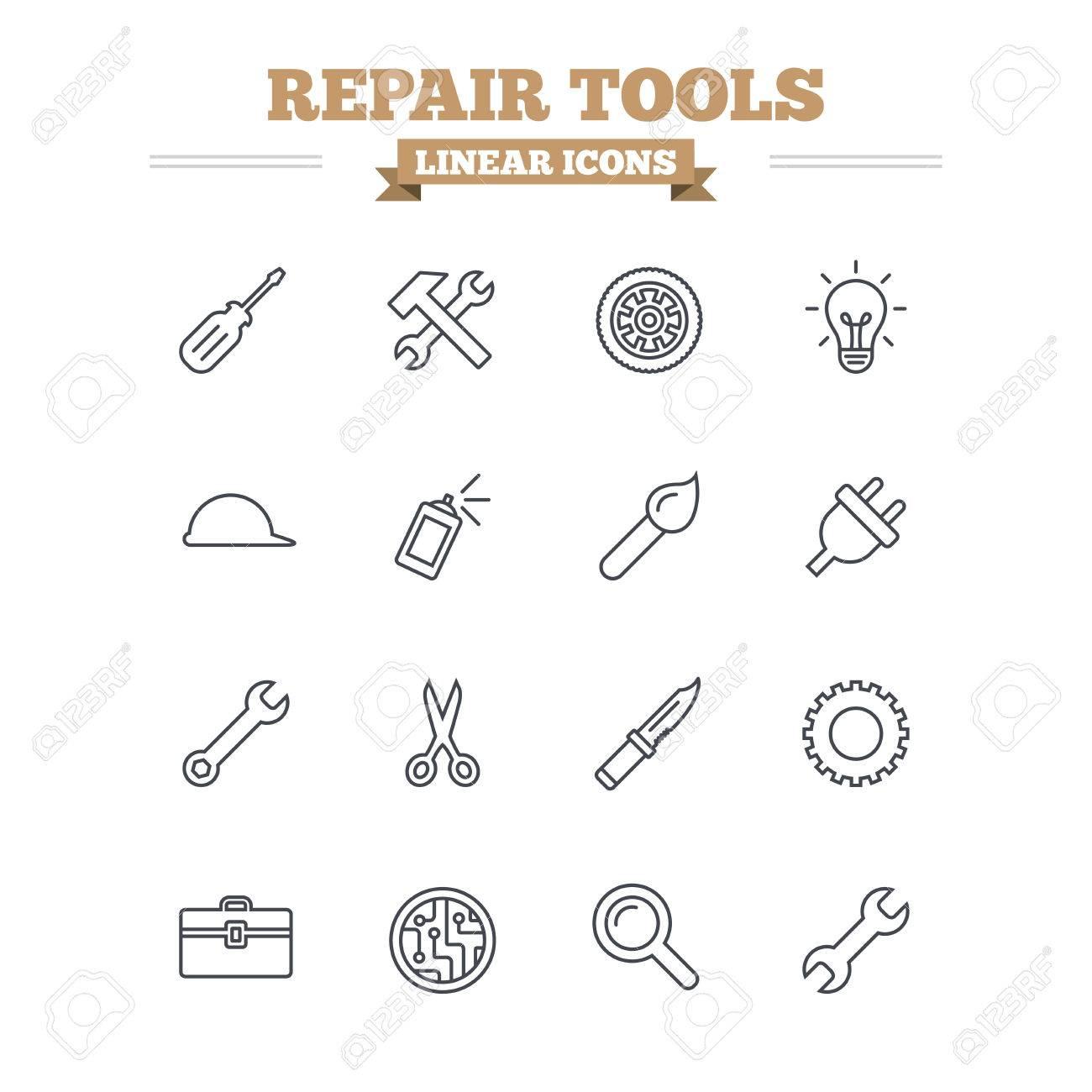 Circuito Lineal : Iconos reparación herramientas lineales fijados martillo con