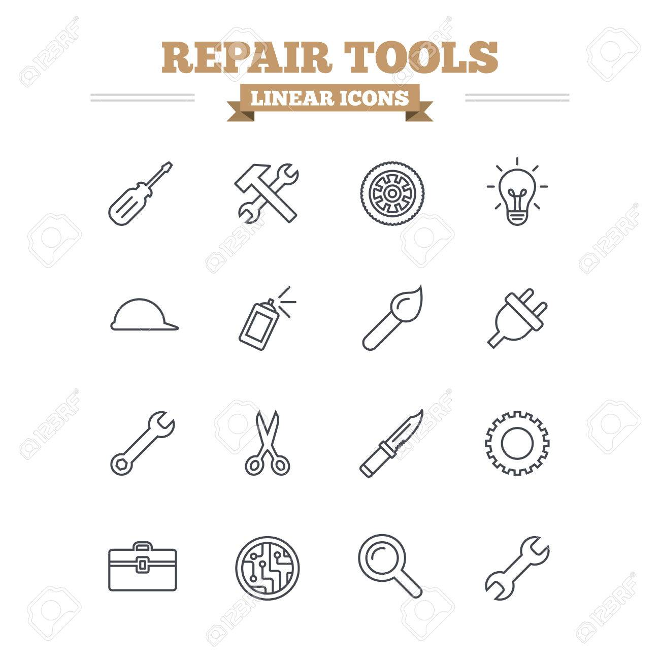 Repair Tools Linear Icons Set Hammer With Wrench Key Wheel And Circuit Board Brush Screwdriver