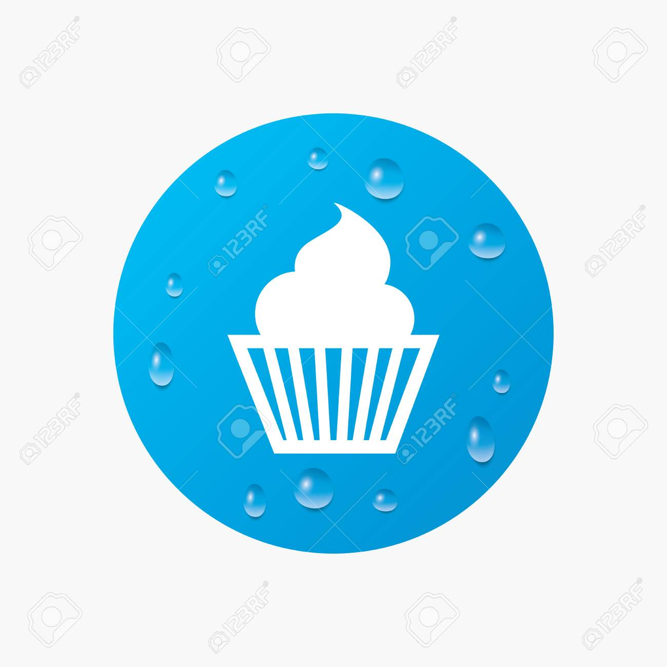 Water Drops On Button Muffin Sign Icon Cupcake Symbol Realistic