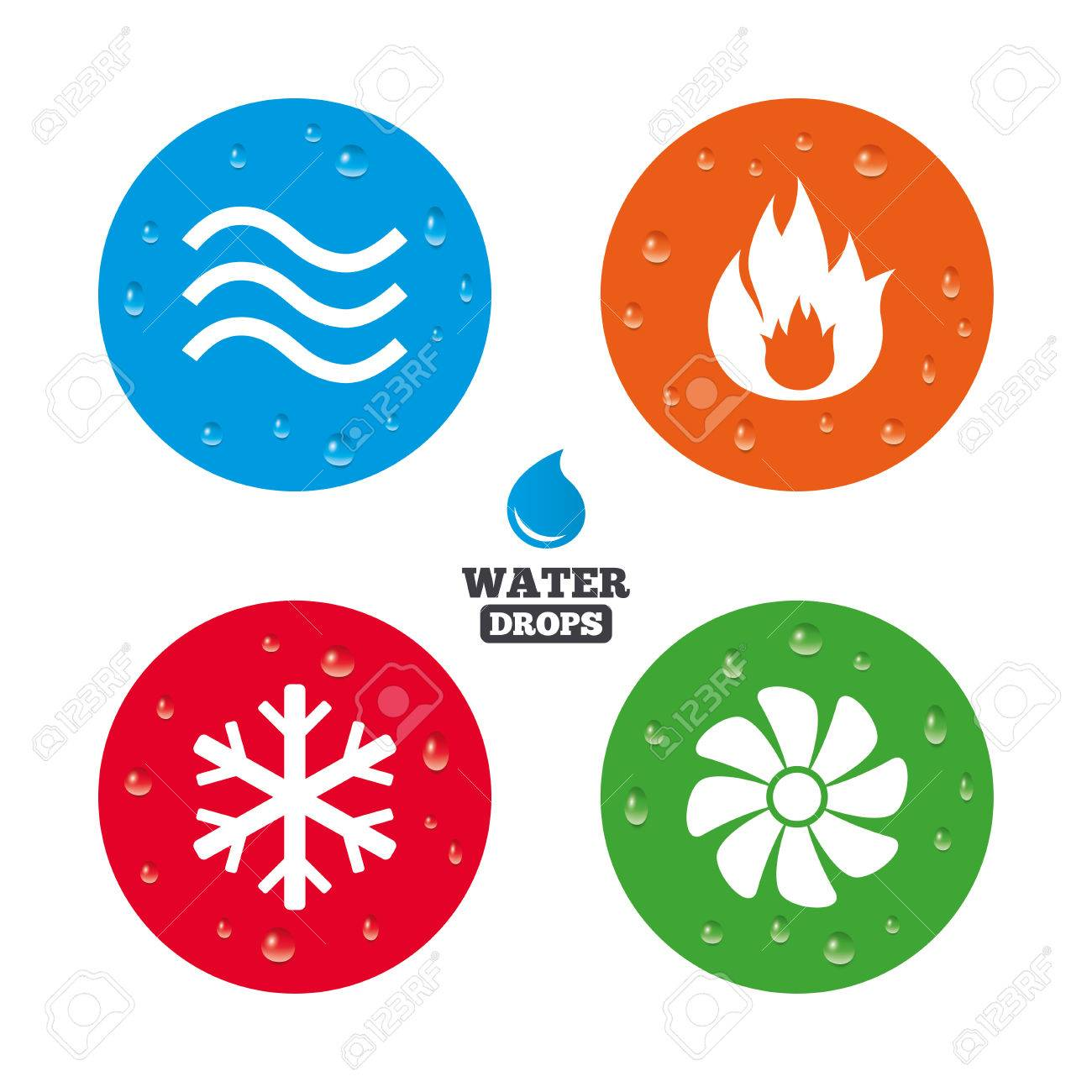 Water Drops On Button. HVAC Icons. Heating, Ventilating And Air ...