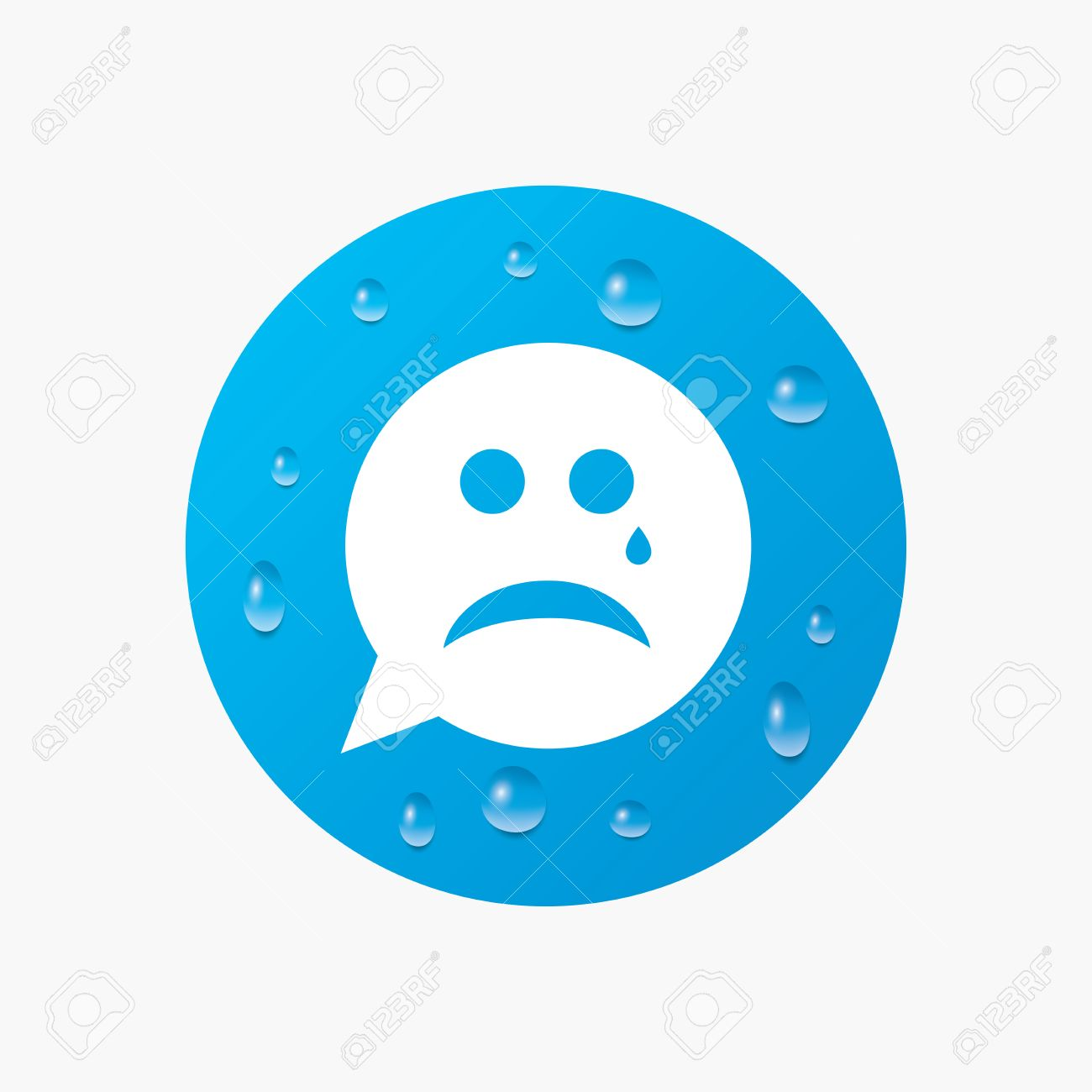 Picture of sad face crying impremedia vector water drops on button sad face with tear sign icon crying chat buycottarizona Gallery