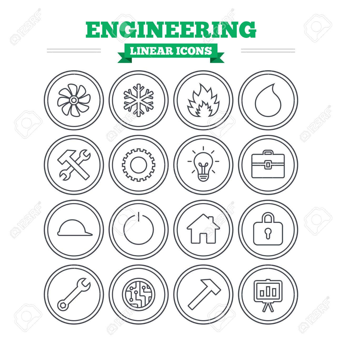 Engineering Linear Icons Set Ventilation Heat And Air Conditioning