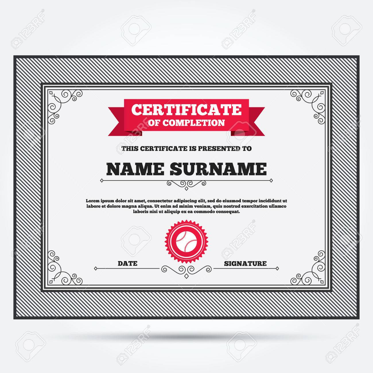Certificate Of Completion Baseball Ball Sign Icon Sport Symbol