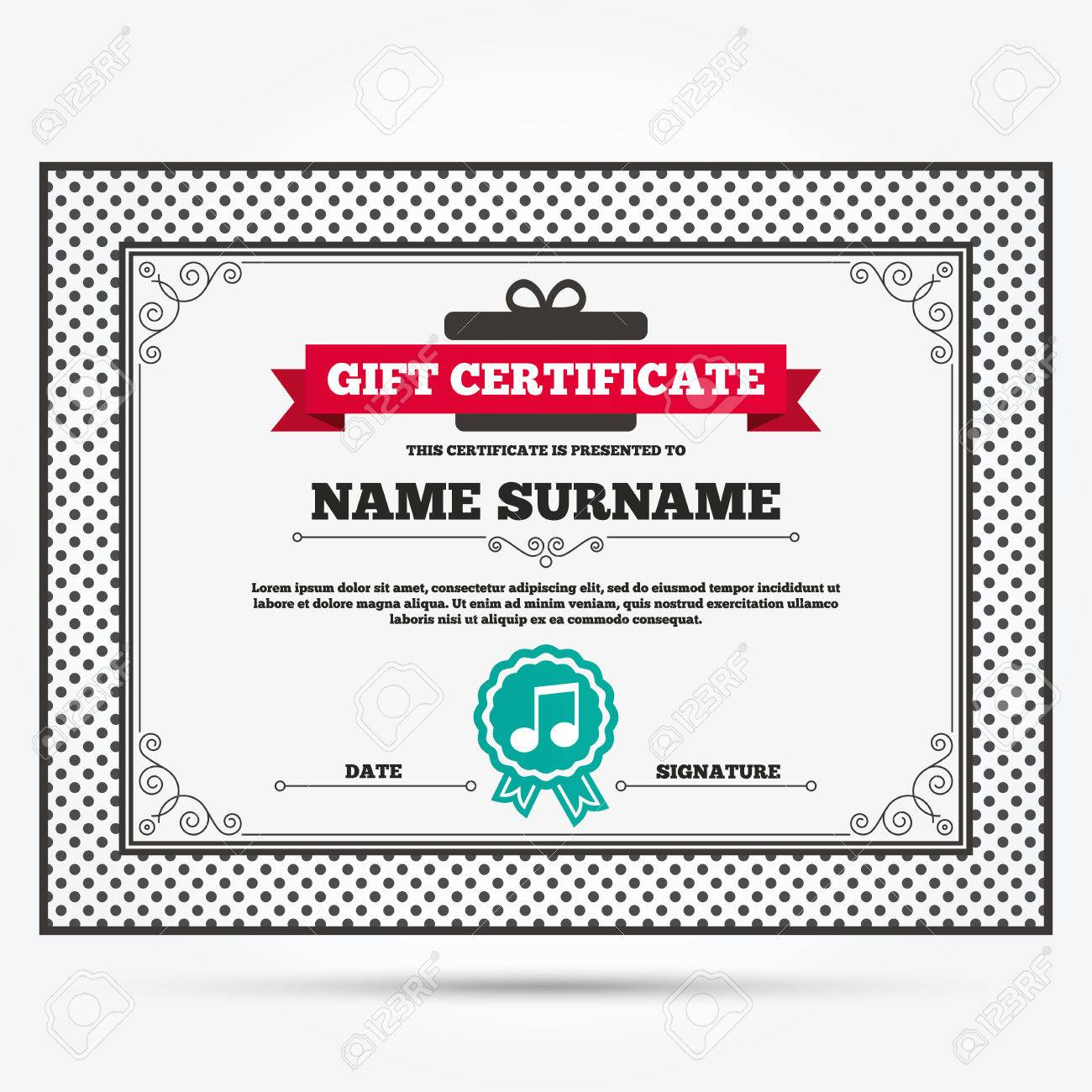 Gift certificate  Music note sign icon  Musical symbol  Template