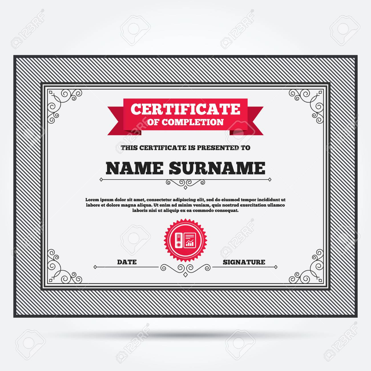 Certificate Of Completion Document Folder Sign Accounting Binder