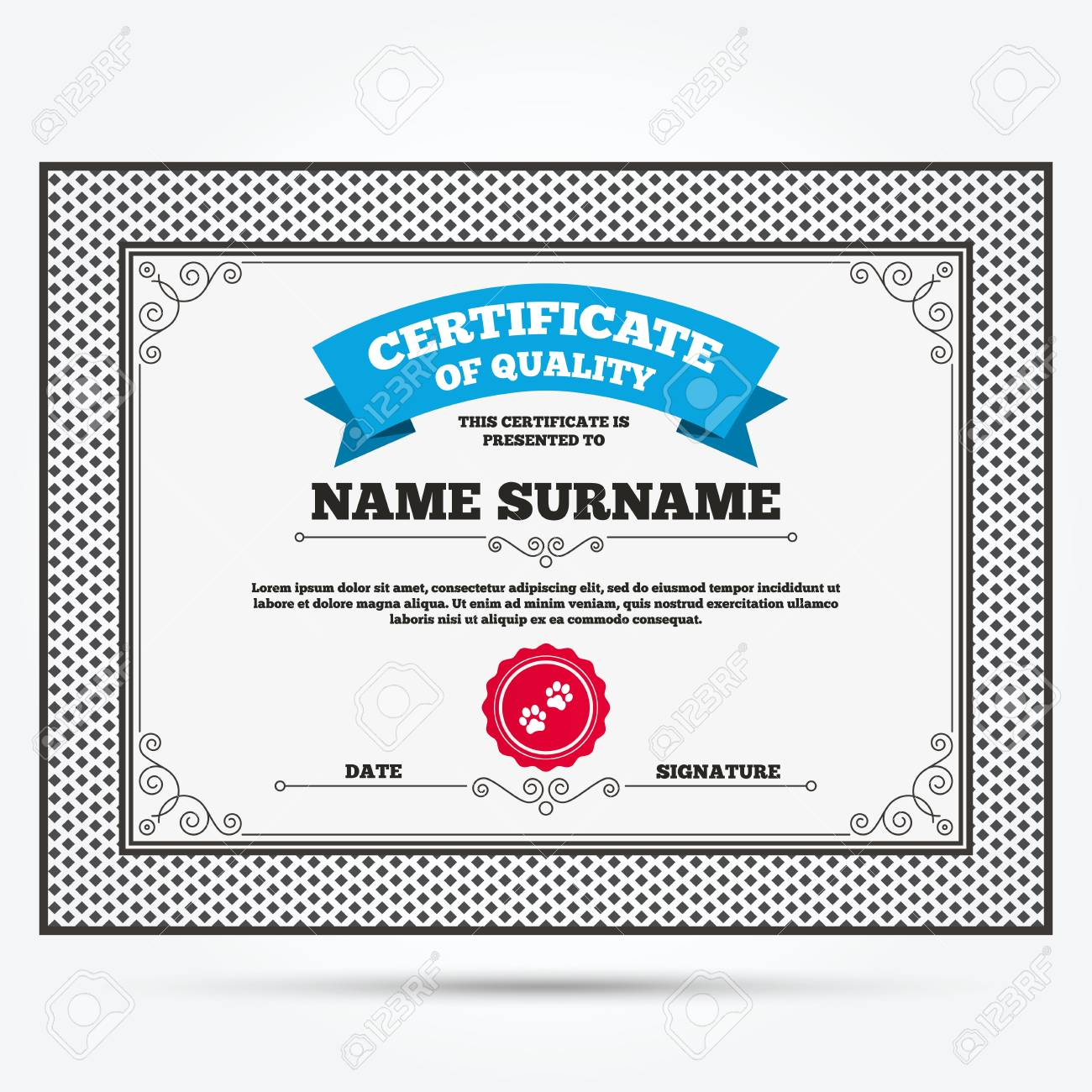Certificate Of Quality Paw Sign Icon Dog Pets Steps Symbol