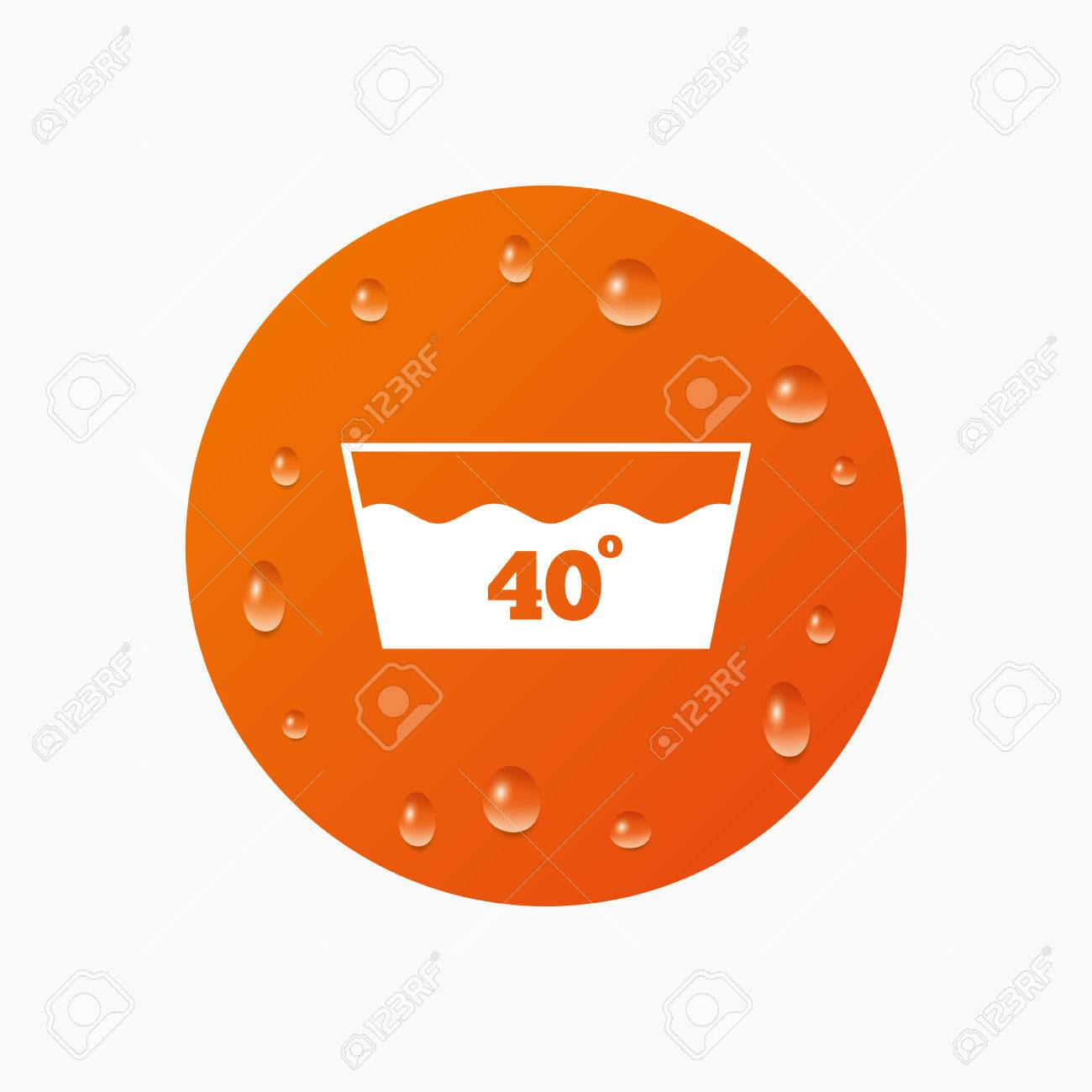Water Drops On Button Wash Icon Machine Washable At 40 Degrees