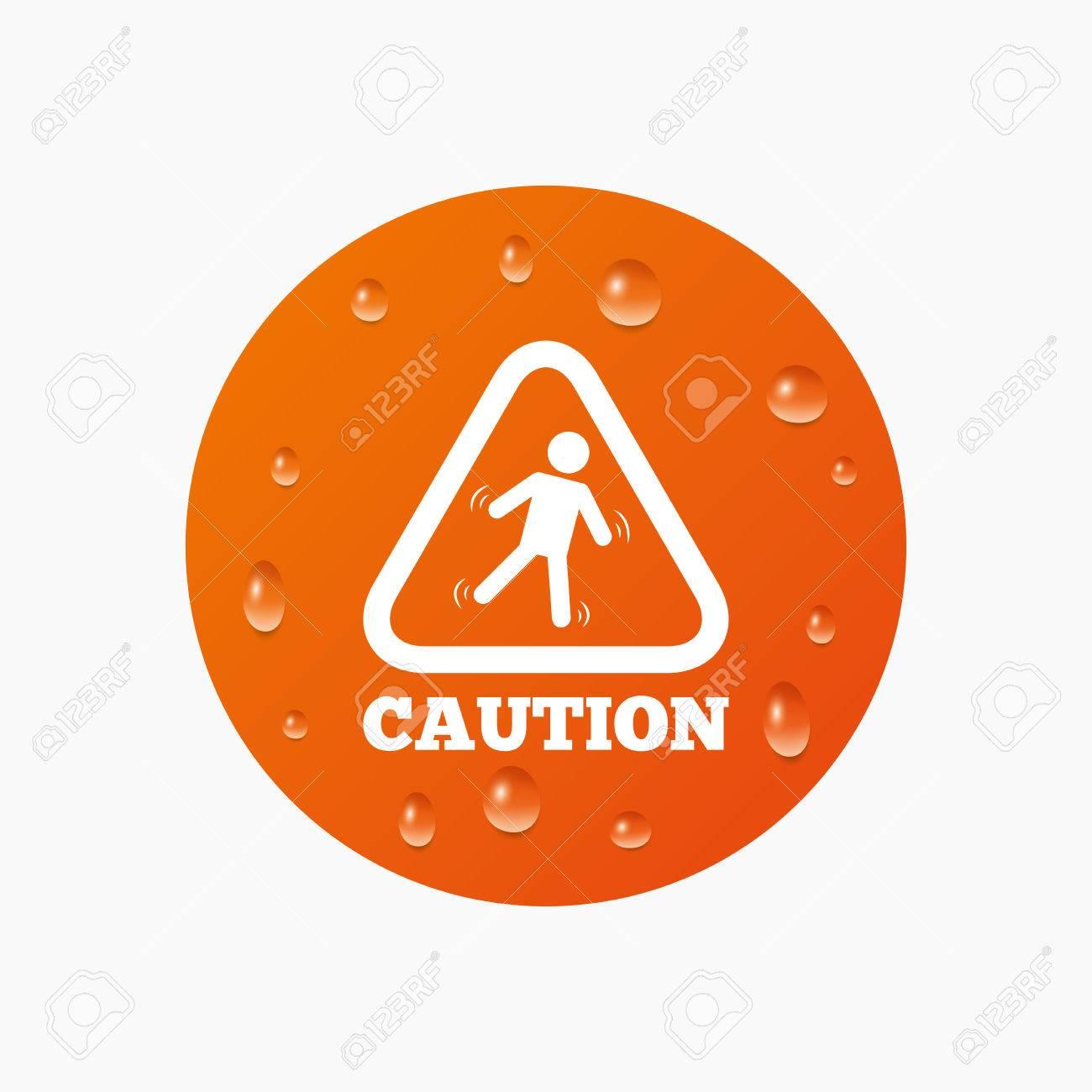 attenzione pavimento bagnato segno icona umana caduta simbolo triangolare gocce di pioggia puro realistici cerchio arancione vettore