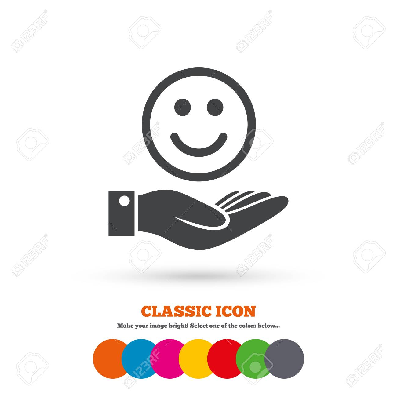 Smile And Hand Sign Icon Palm Holds Happy Face Symbol Classic