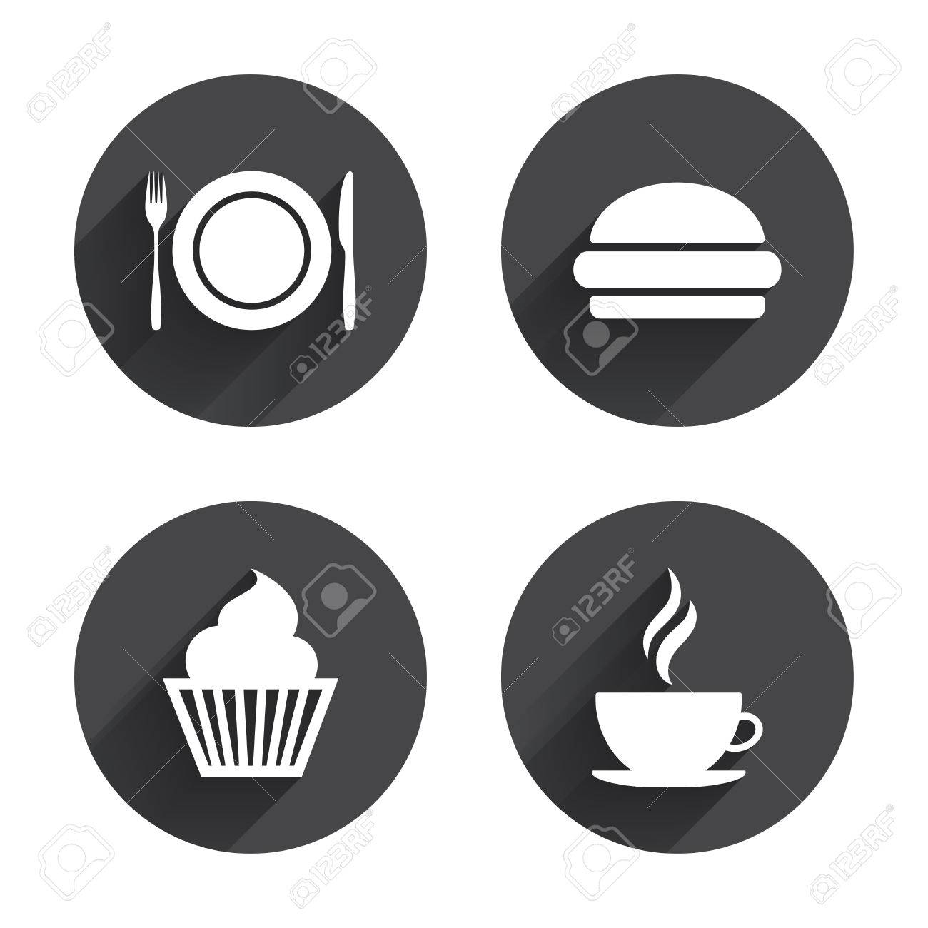 Food And Drink Icons Muffin Cupcake Symbol Plate Dish With Fork And Knife Sign Hot Coffee Cup And Hamburger Circles Buttons With Long Flat Shadow