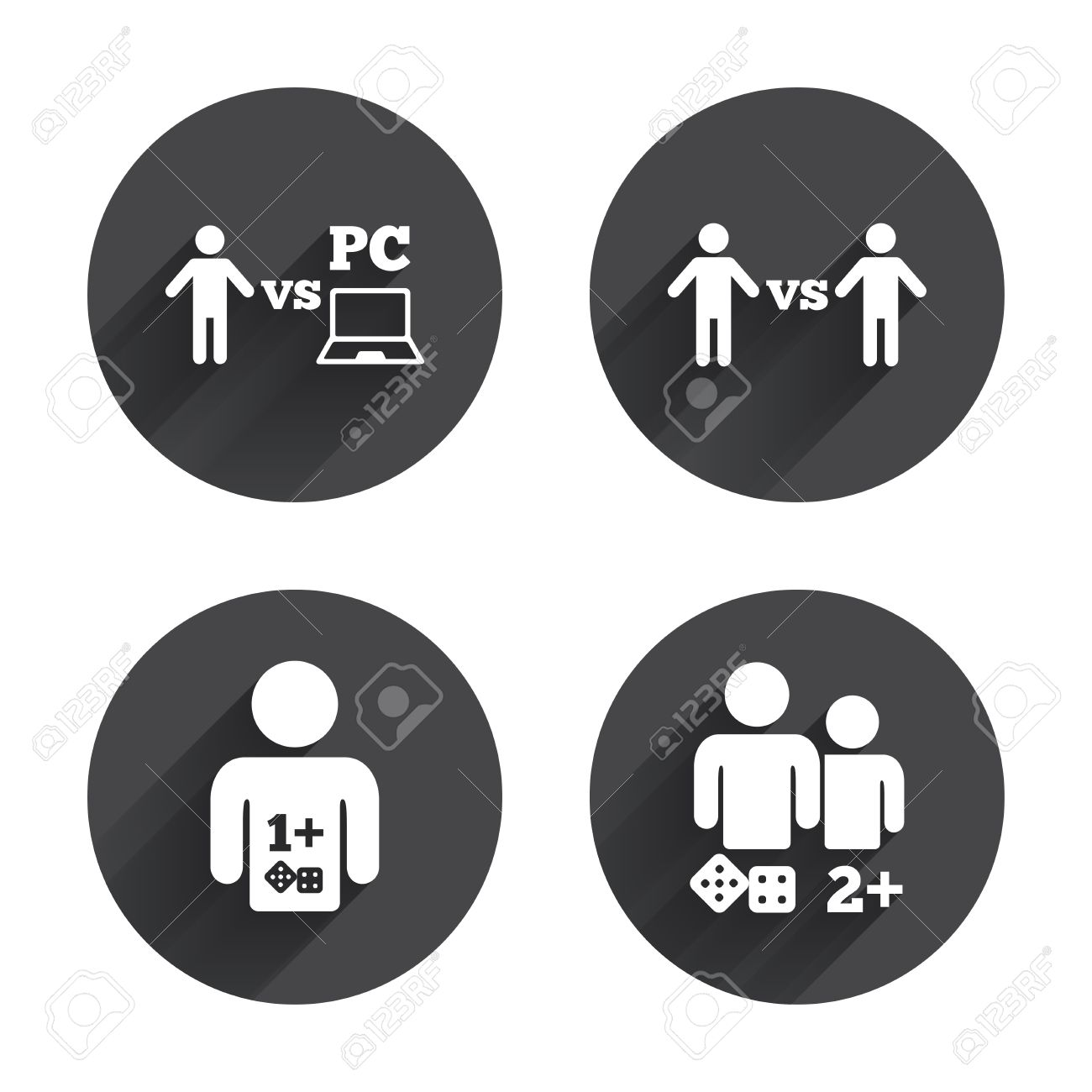 Gamer icons  Board and PC games players signs  Player vs PC symbol