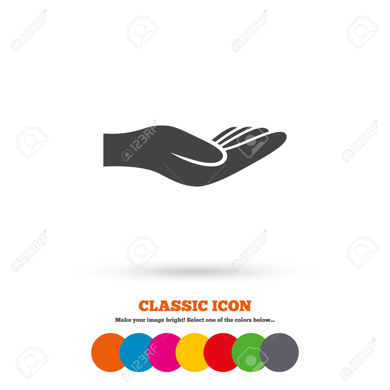 Donation Hand Sign Icon Charity Or Endowment Symbol Human Helping