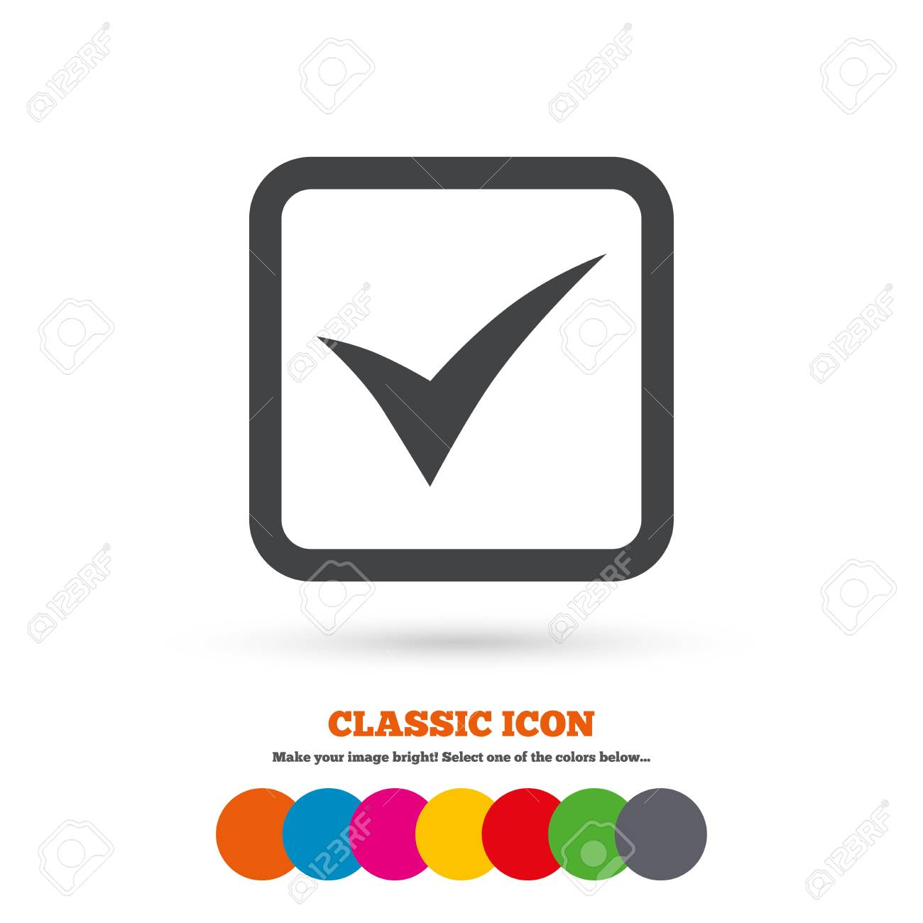 Check Mark Sign Icon Yes Square Symbol Confirm Approved Classic