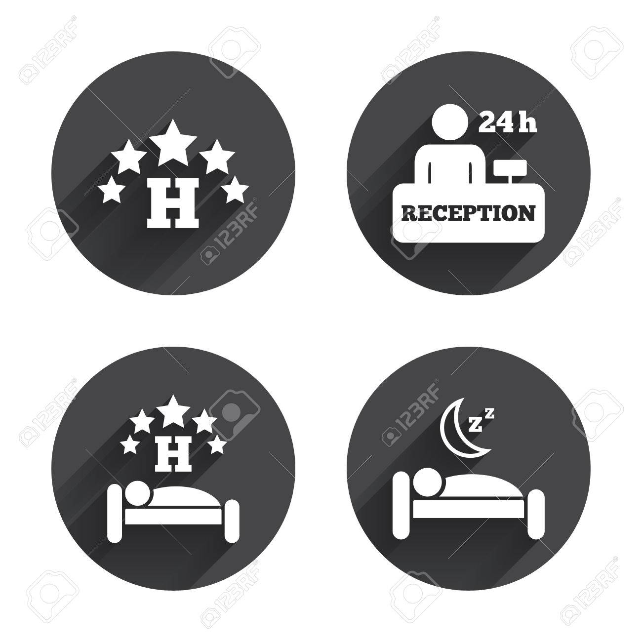 Fünf-Sterne-Hotel-Ikonen. Reisen Rastplatz Symbole. Menschlichen ...