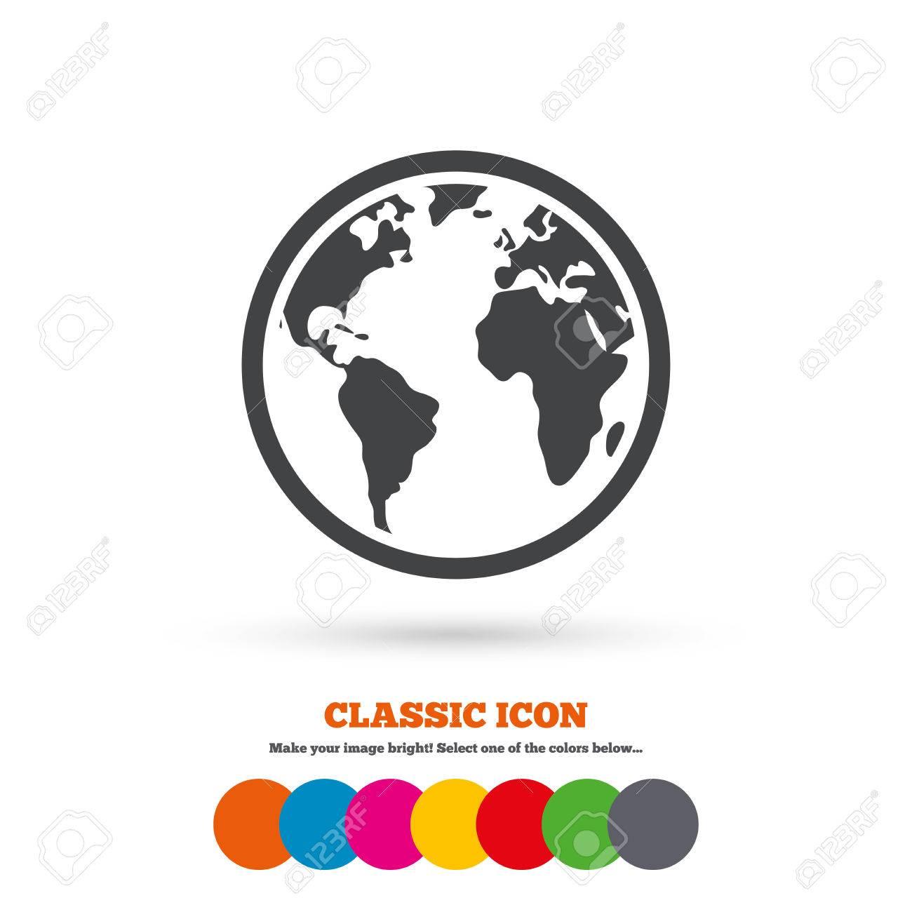 Globe sign icon world map geography symbol classic flat icon globe sign icon world map geography symbol classic flat icon colored circles gumiabroncs Images