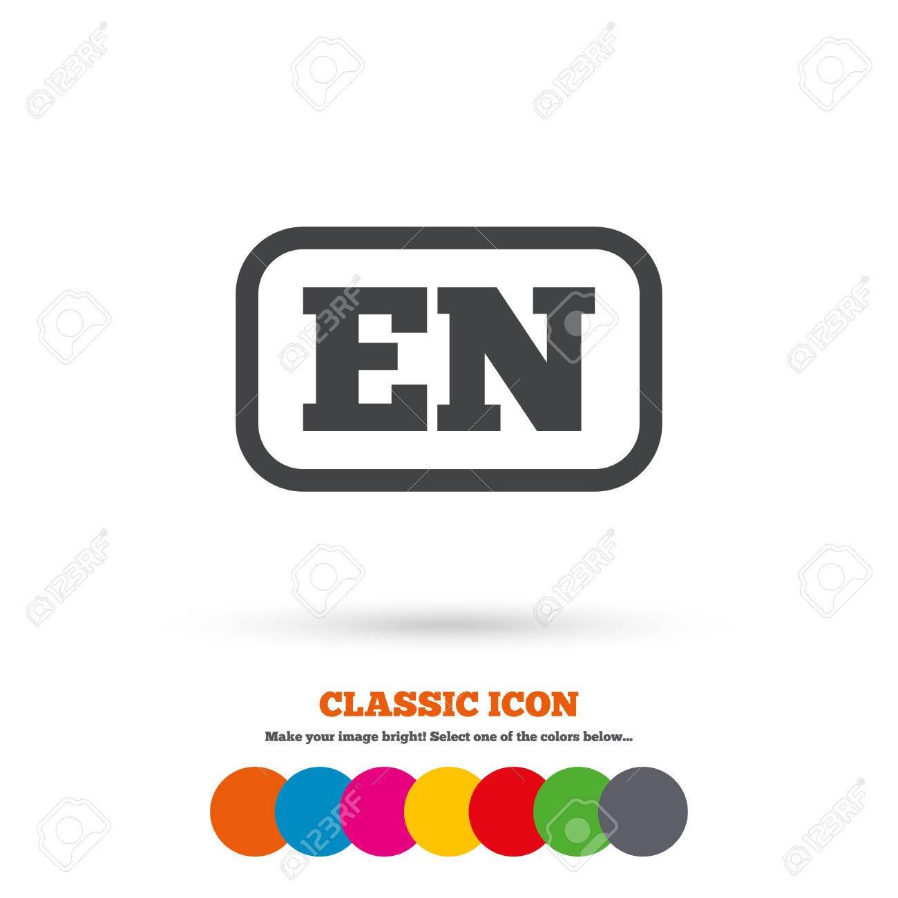 Englisch Sprachzeichen-Symbol. EN Übersetzung Symbol Mit Rahmen ...