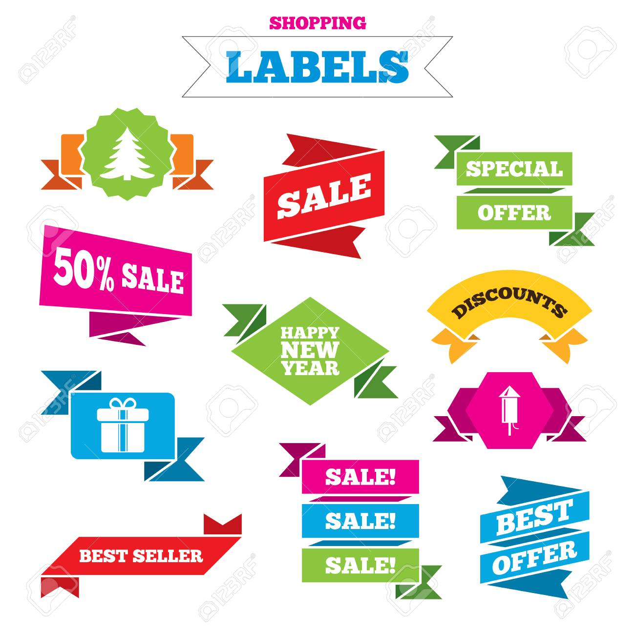 sale shopping labels happy new year icon christmas tree and gift box signs
