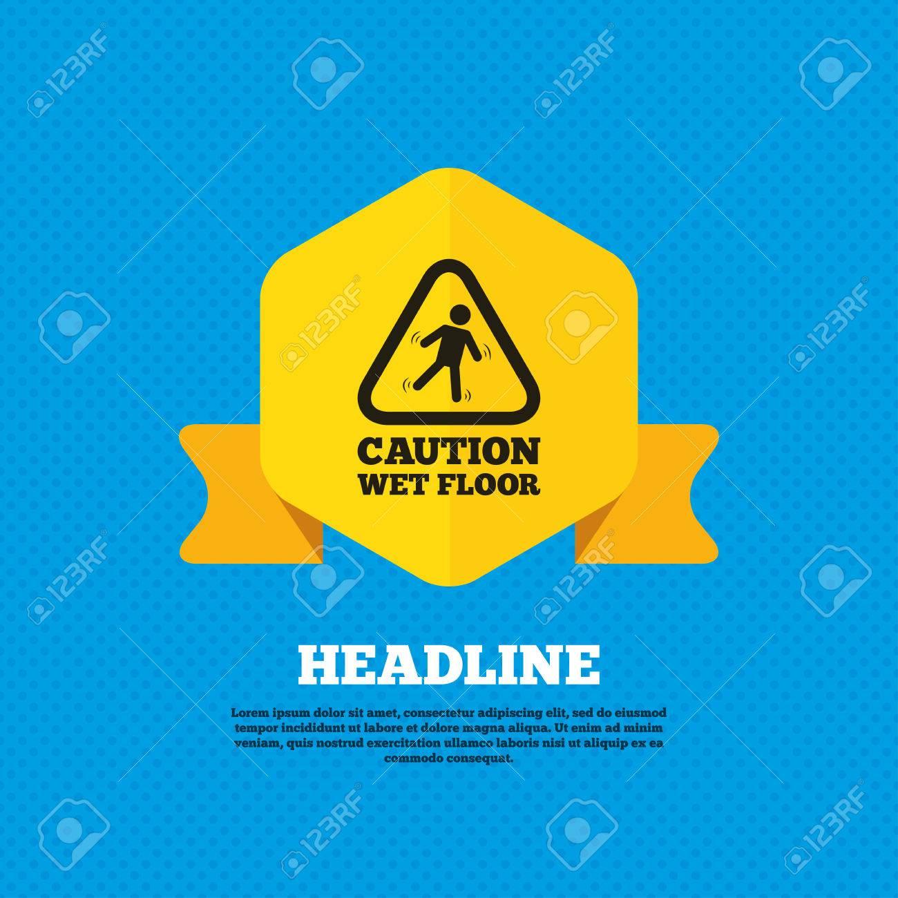 archivio fotografico attenzione pavimento bagnato segno icona umano che rientrano simbolo triangolare tag etichetta gialla circoli senza soluzione di