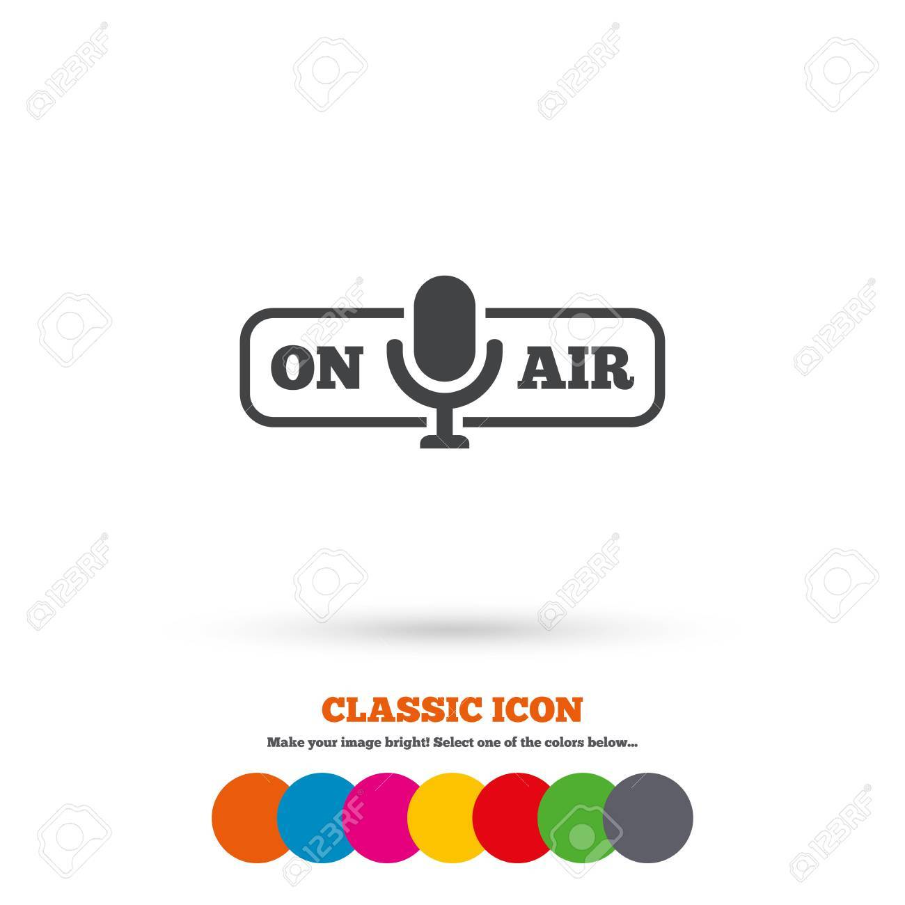 On Air Sign Icon Live Stream Symbol Microphone Symbol Classic