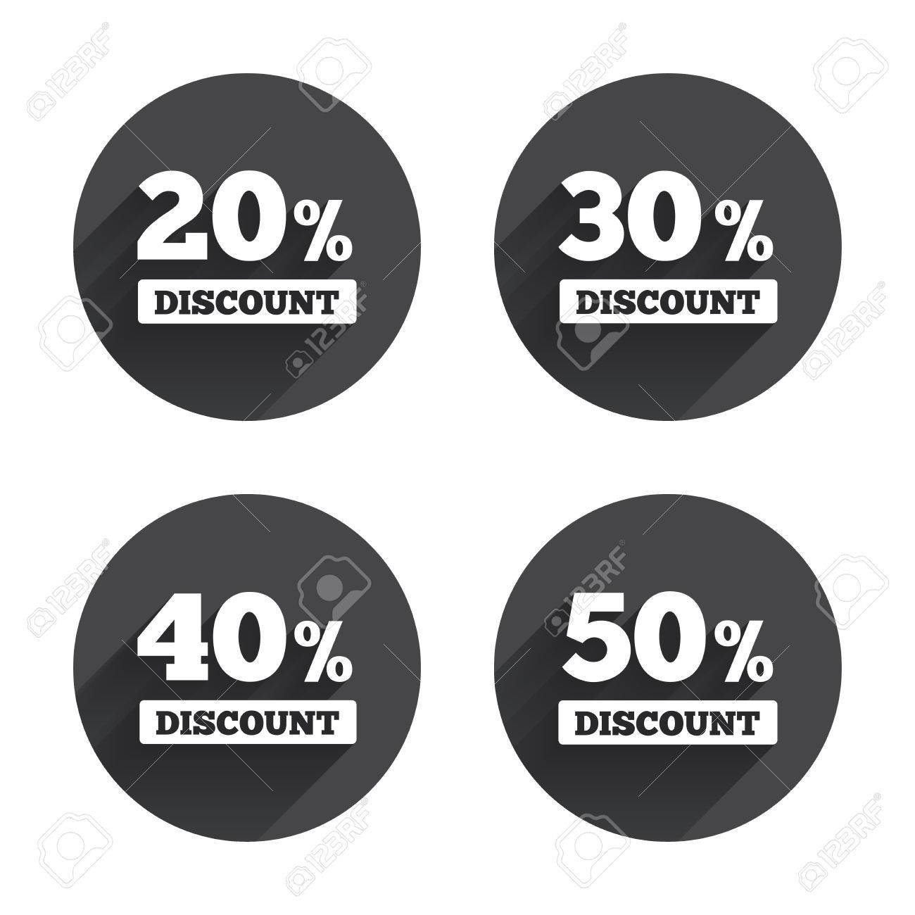 Sale Discount Icons. Special Offer Price Signs. 20, 30, 40 And ...