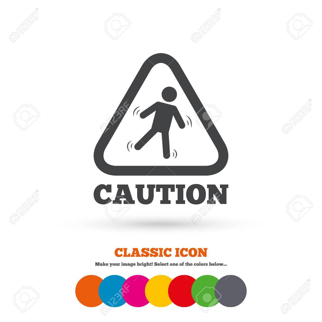 archivio fotografico attenzione pavimento bagnato segno icona umano che rientrano simbolo triangolare icona piatta classic cerchi colorati vettore