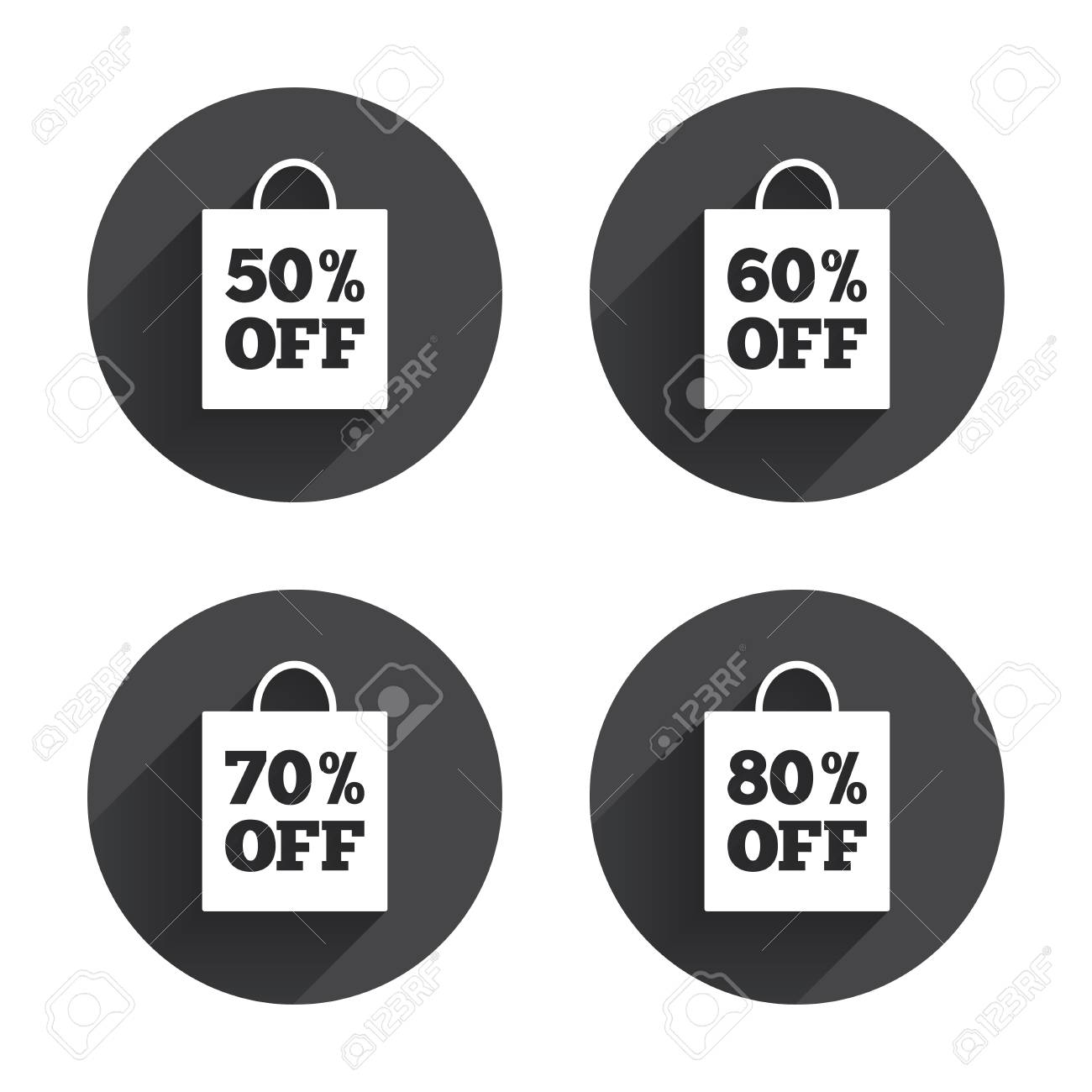 Sale Bag Tag Icons. Discount Special Offer Symbols. 50%, 60 ...