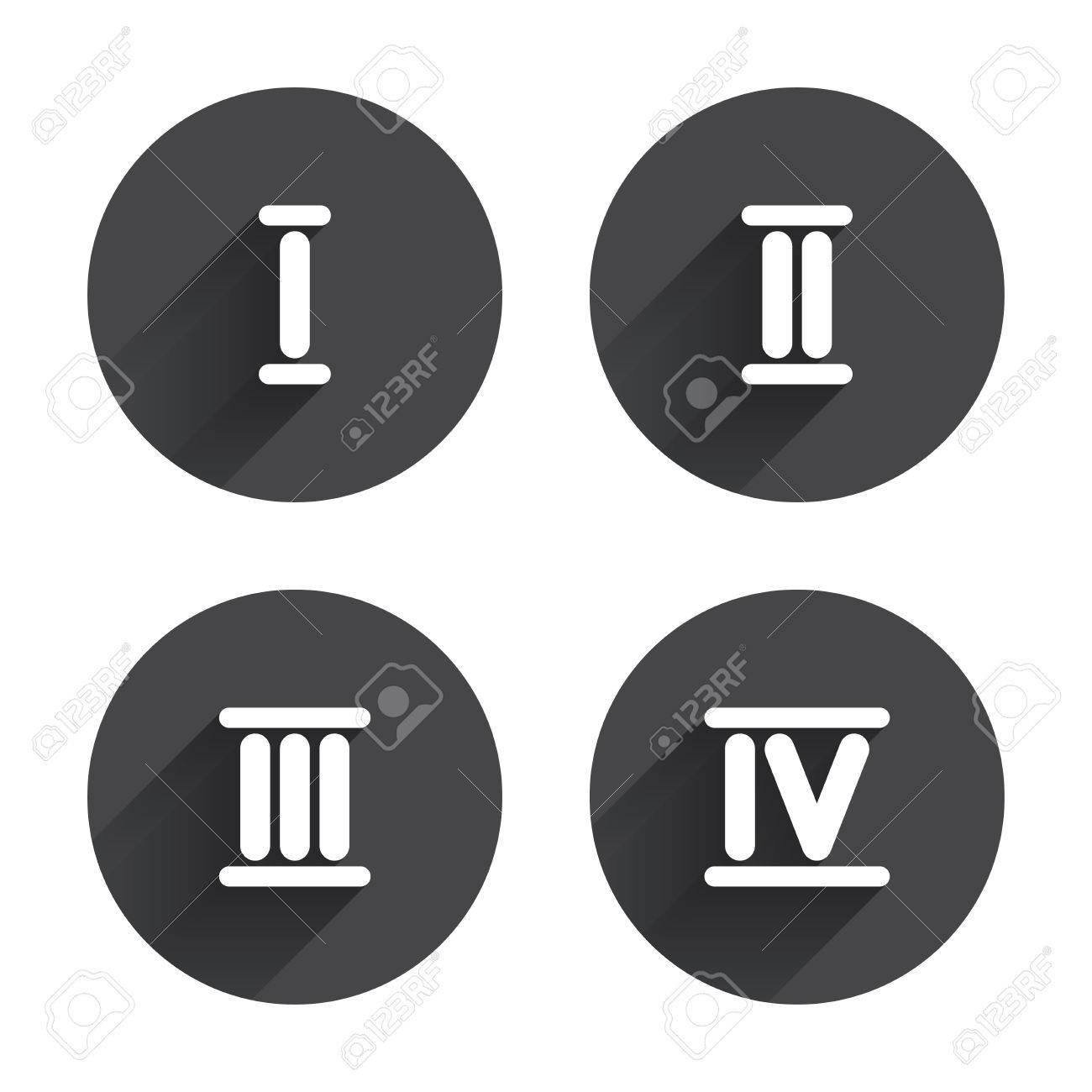 Chiffre Romain 4 icônes chiffres romains. 1, 2, 3 et 4 caractères numériques. ancien