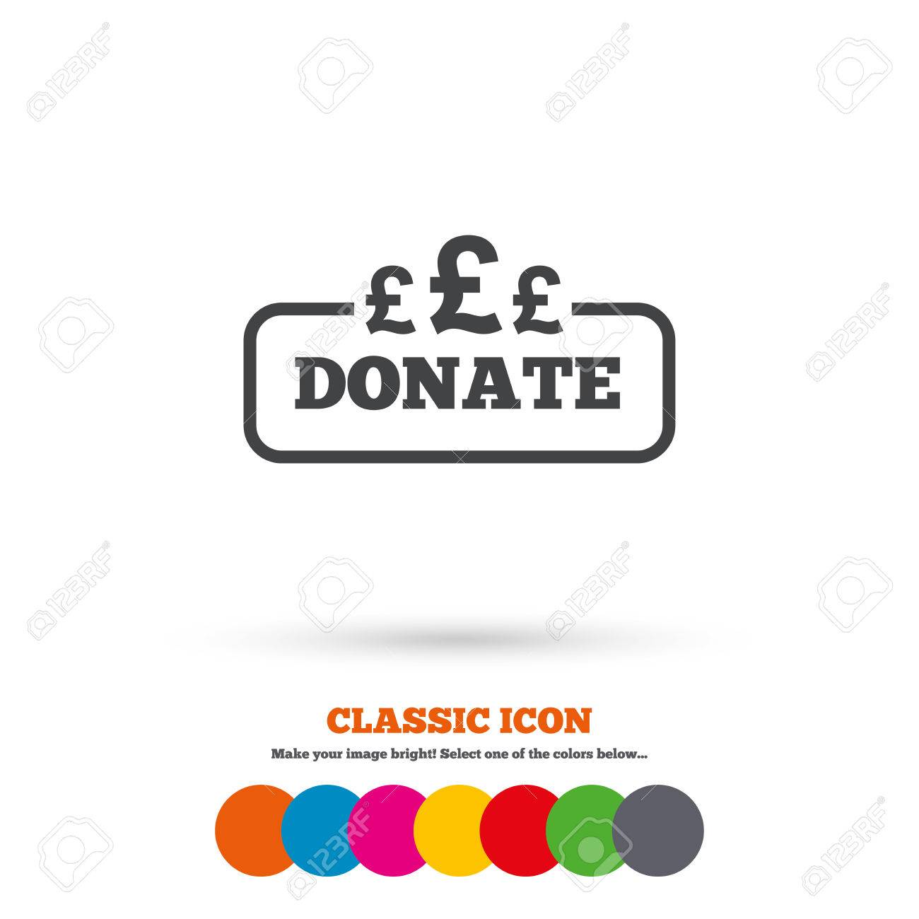 Donate Sign Icon Pounds Gbp Symbol Classic Flat Icon Colored