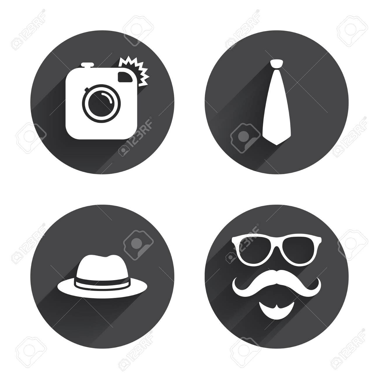 089f125b Hipster photo camera. Mustache with beard icon. Glasses and tie..
