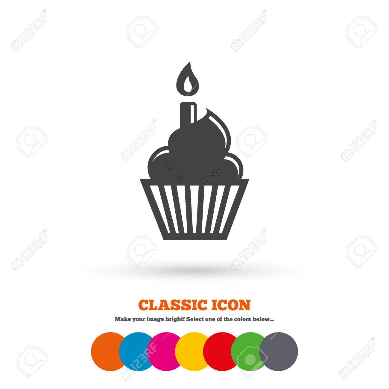 Birthday Cake Sign Icon Cupcake With Burning Candle Symbol