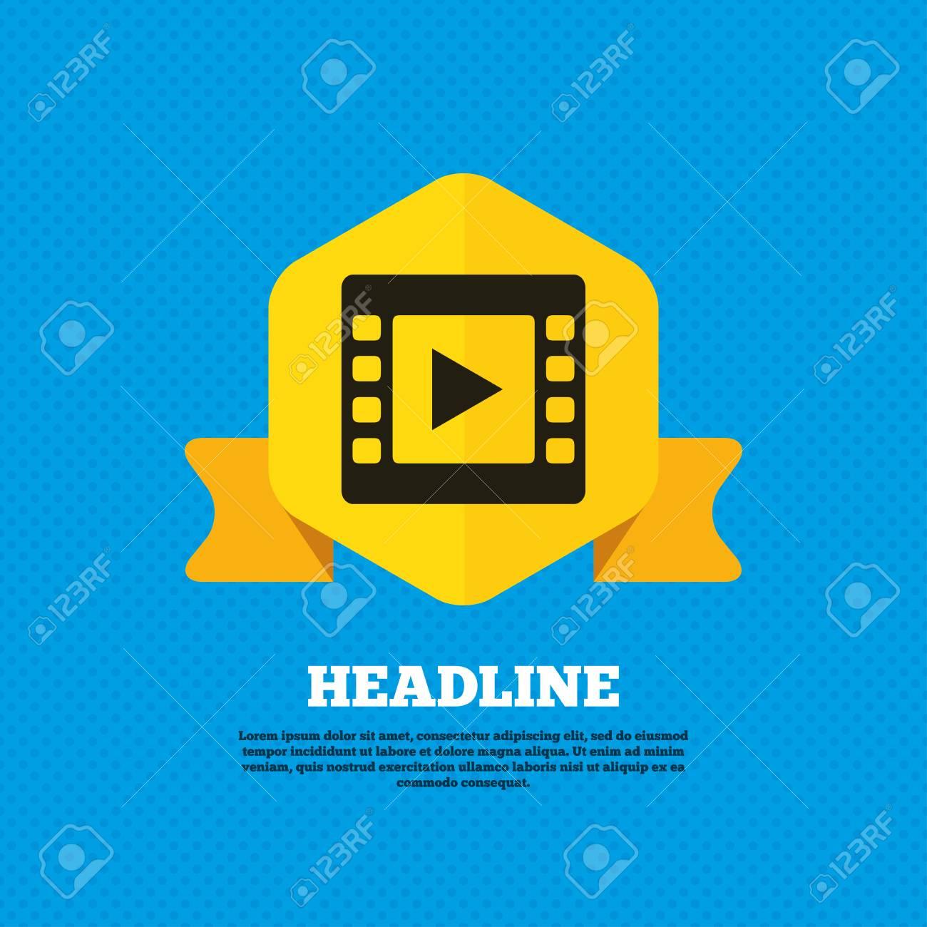 Video Zeichen-Symbol. Video-Frame-Symbol. Yellow Label-Tag. Kreise ...