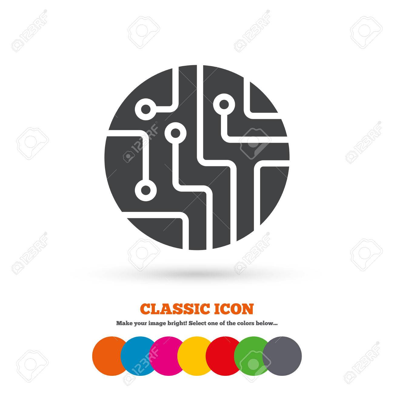 Circuit Board Sign Icon. Technology Scheme Circle Symbol. Classic ...