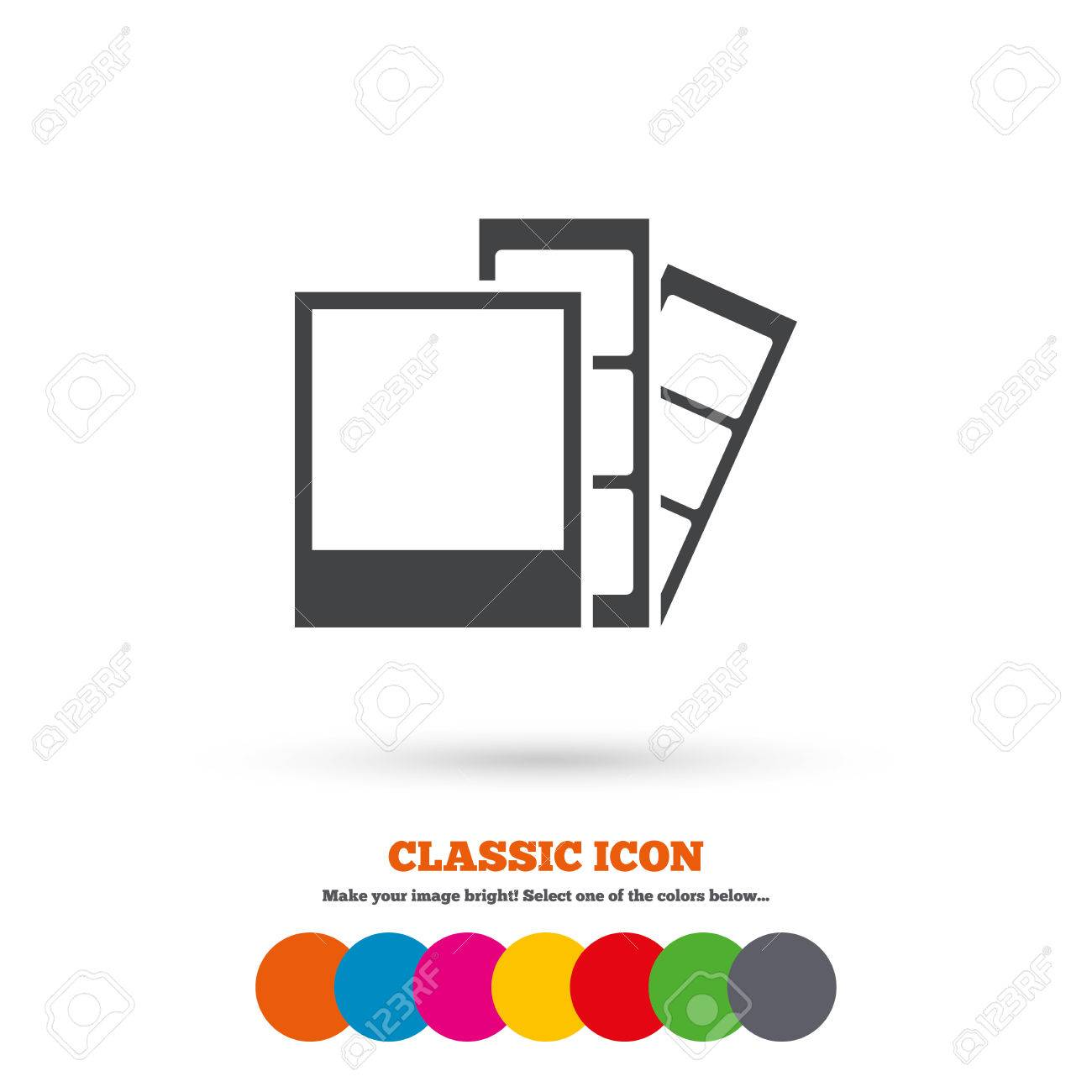 Photo Frame Template Sign Icon Photo Booth Strips Symbol Classic