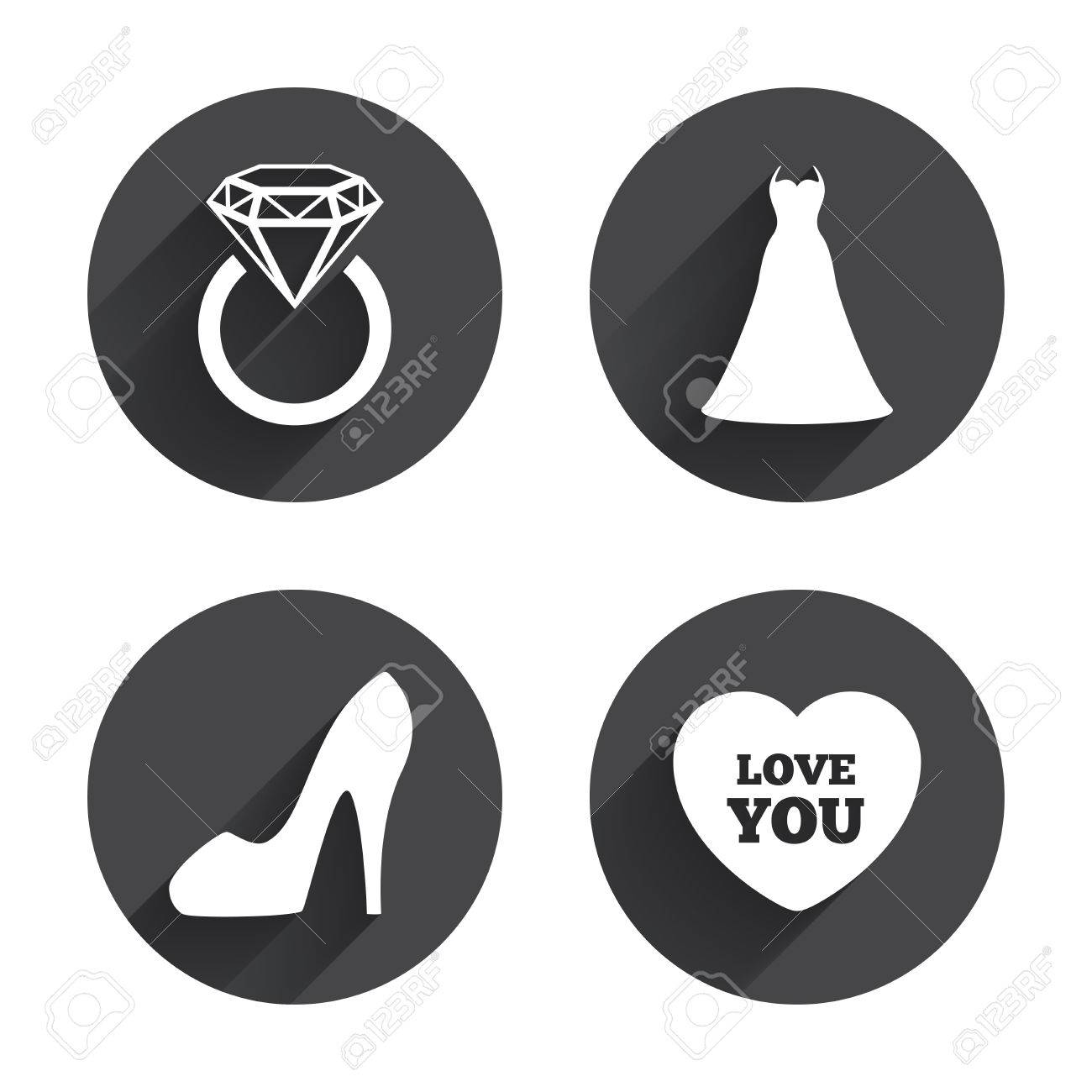 Wedding Dress Icon Womens Shoe And Love Heart Symbols Wedding