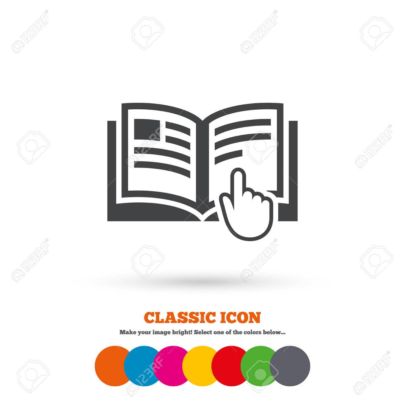 Instruction sign icon. Manual book symbol. Read before use. Classic flat icon. Colored circles. Vector - 44000342