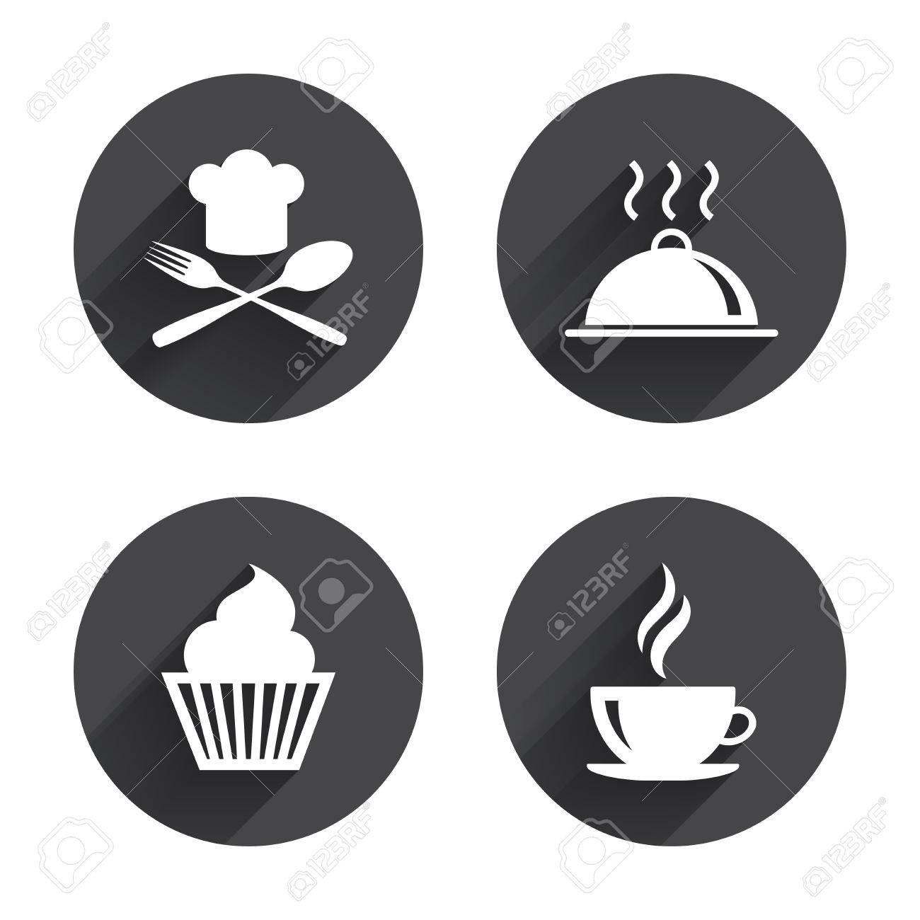 Essen Und Trinken Icons Muffin Kuchen Symbol Gabel Und Loffel Mit