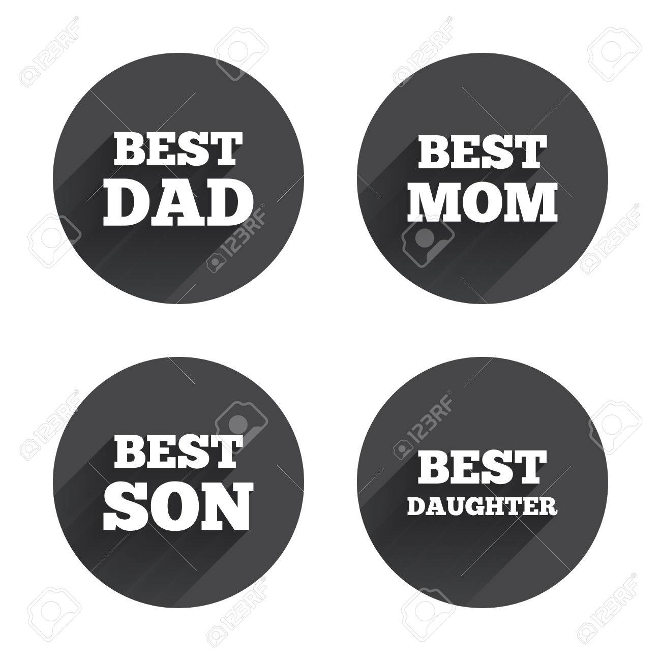 Best mom and dad son and daughter icons award symbols circles best mom and dad son and daughter icons award symbols circles buttons with biocorpaavc