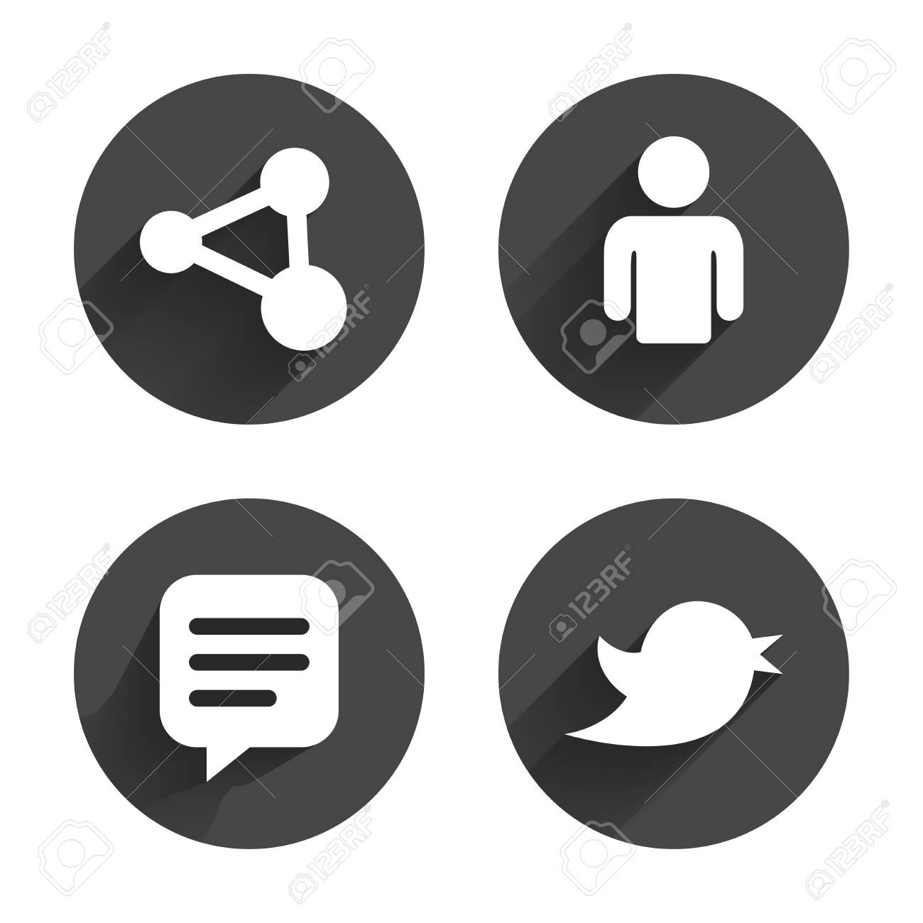 Human Person And Share Icons Speech Bubble Symbols Communication
