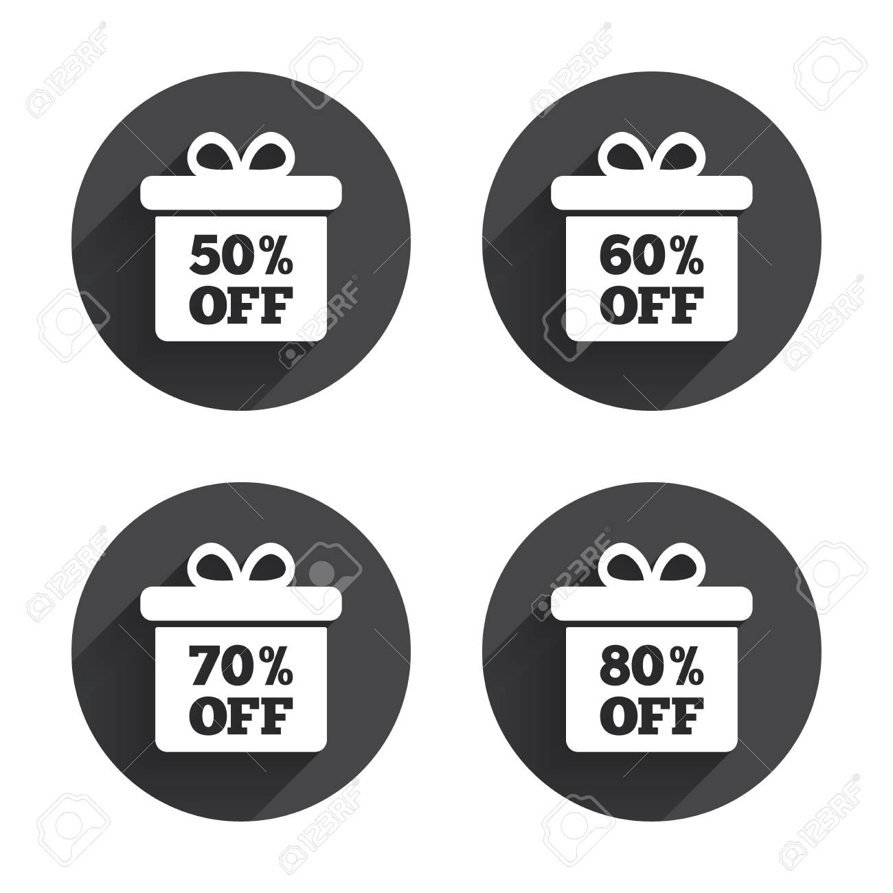 Sale Gift Box Tag Icons. Discount Special Offer Symbols. 50 ...