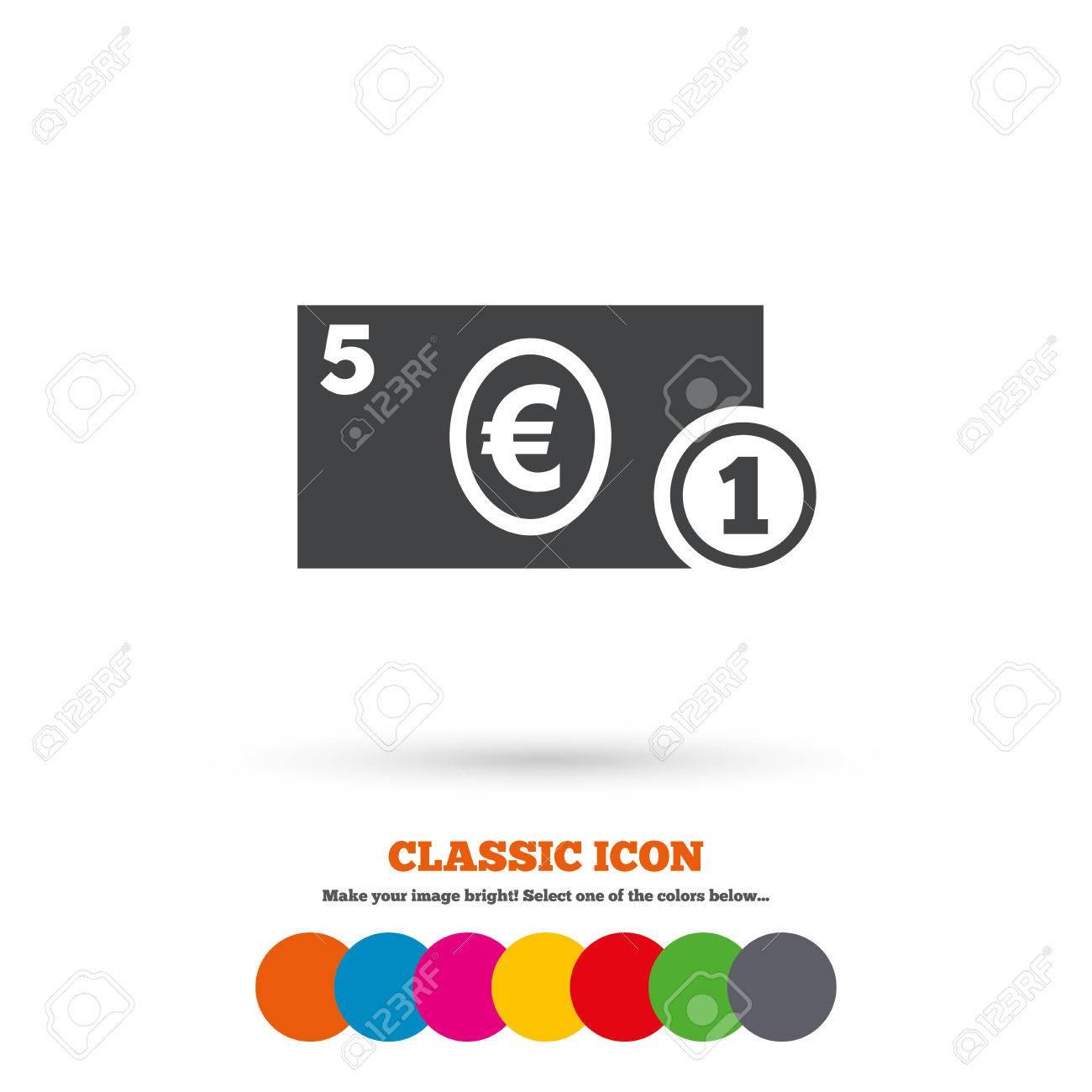 Cash Sign Icon Euro Money Symbol Royalty Free Cliparts Vectors