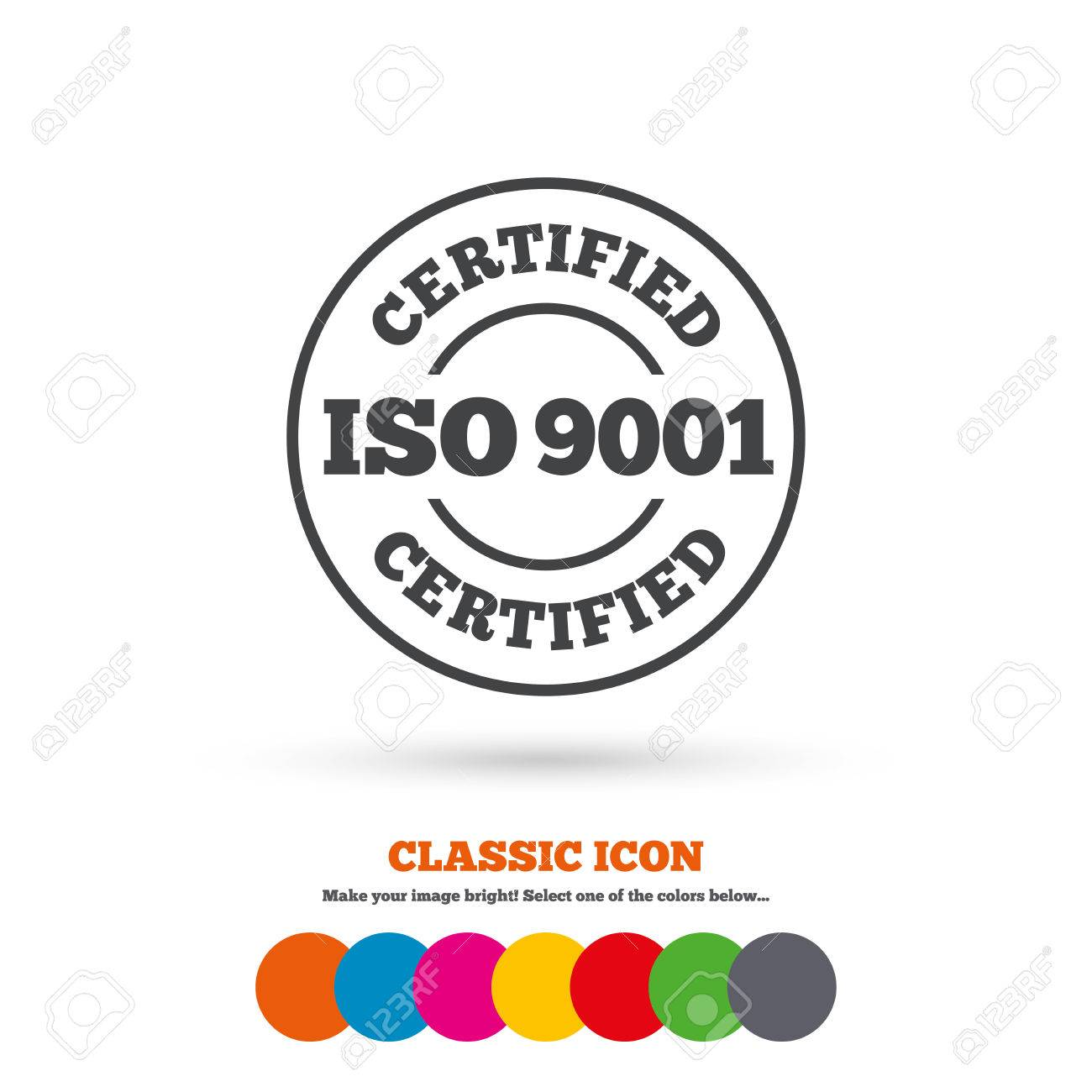 ISO 9001 Certified Sign Icon Certification Stamp Classic Flat Colored Circles