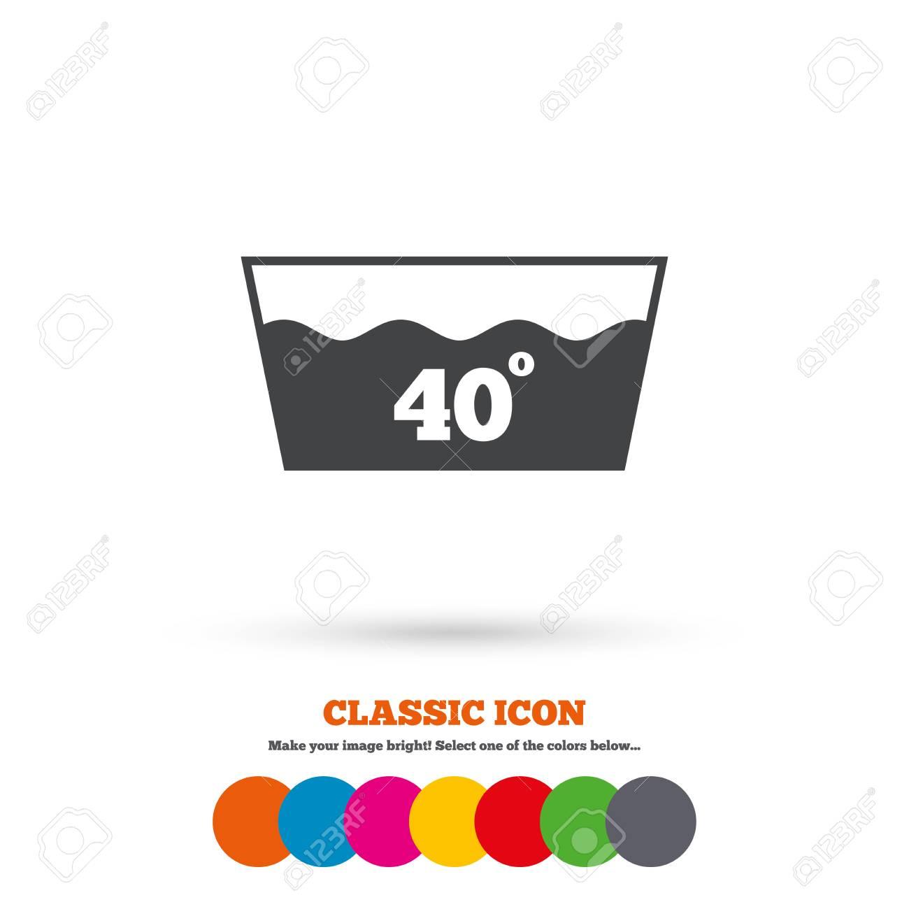Wash Icon Machine Washable At 40 Degrees Symbol Classic Flat