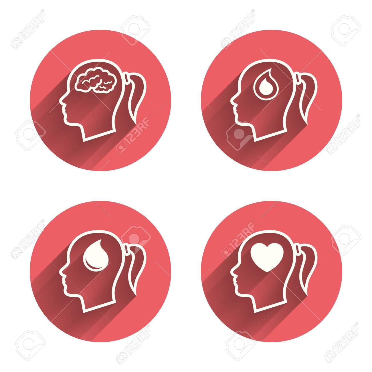 Head With Brain Icon Female Woman Think Symbols Blood Drop