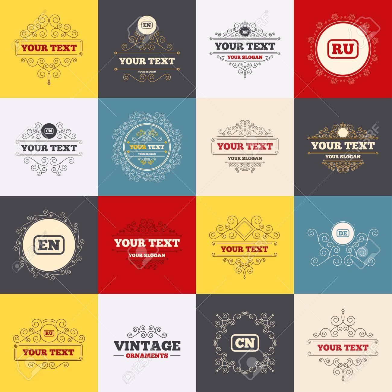 Vintage-Rahmen, Etiketten. Sprache Symbole. EN, DE, RU Und Symbole ...
