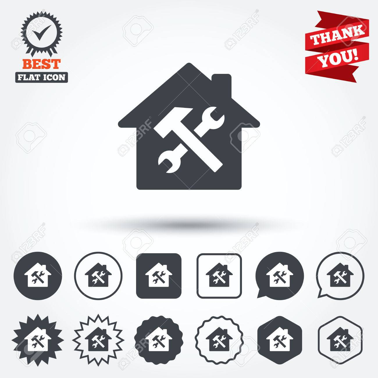 Service house repair tool sign icon service symbol hammer service house repair tool sign icon service symbol hammer with wrench circle biocorpaavc Image collections