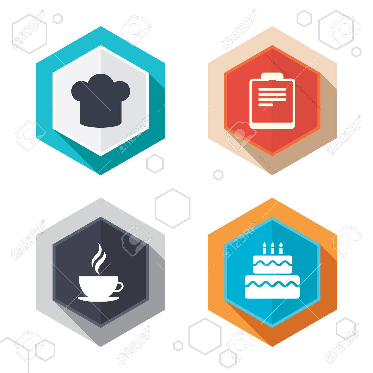 Hexagon Buttons Coffee Cup Icon Chef Hat Symbol Birthday Cake