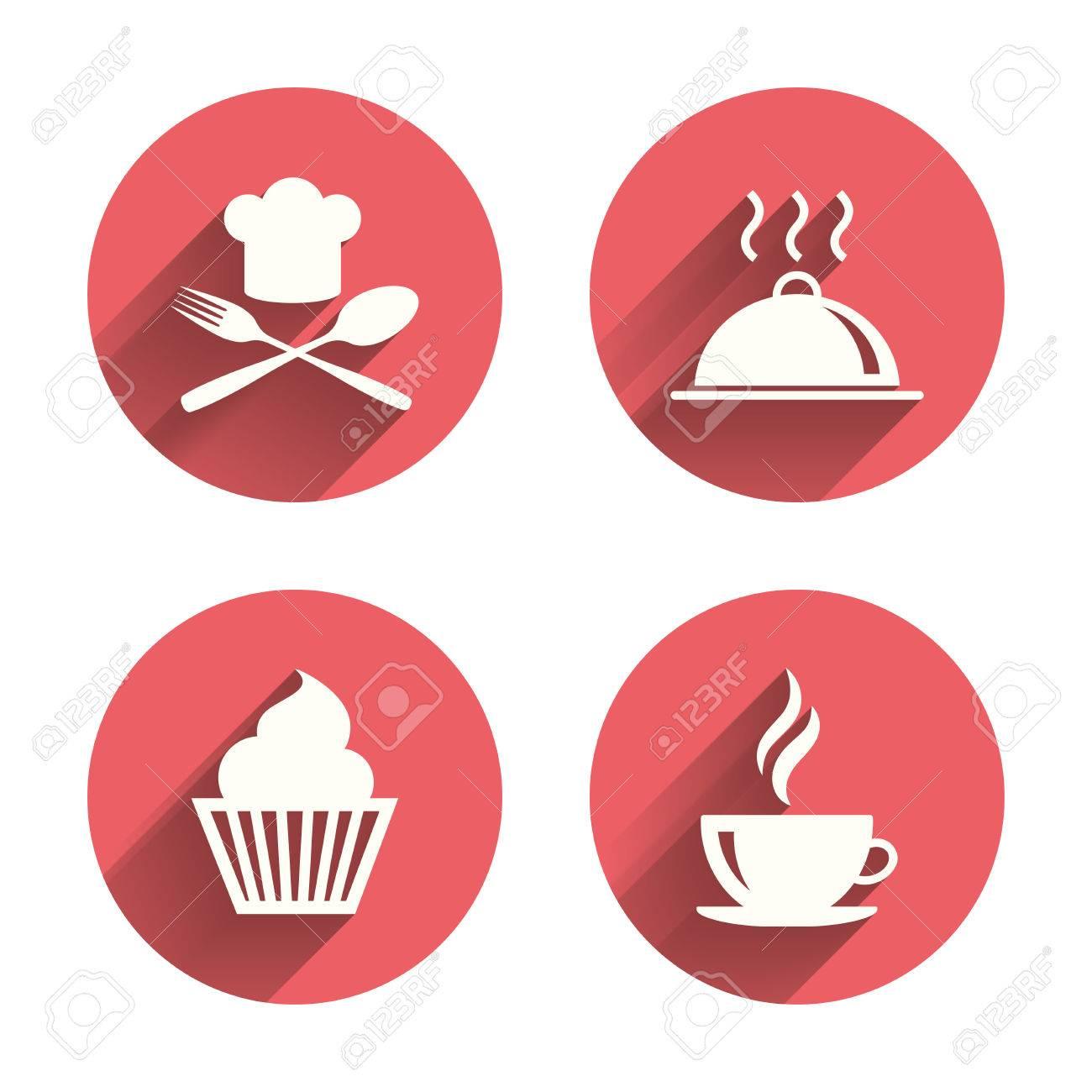 Essen Und Trinken Ikonen. Muffin Kuchen Symbol. Gabel Und Löffel Mit ...