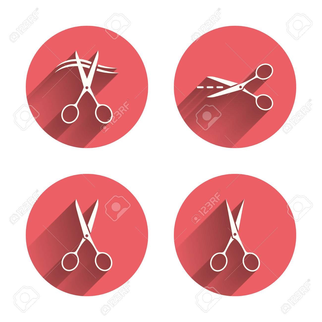 Ciseaux Ic Nes Coiffeur Ou Symbole De Salon De Coiffure Ciseaux