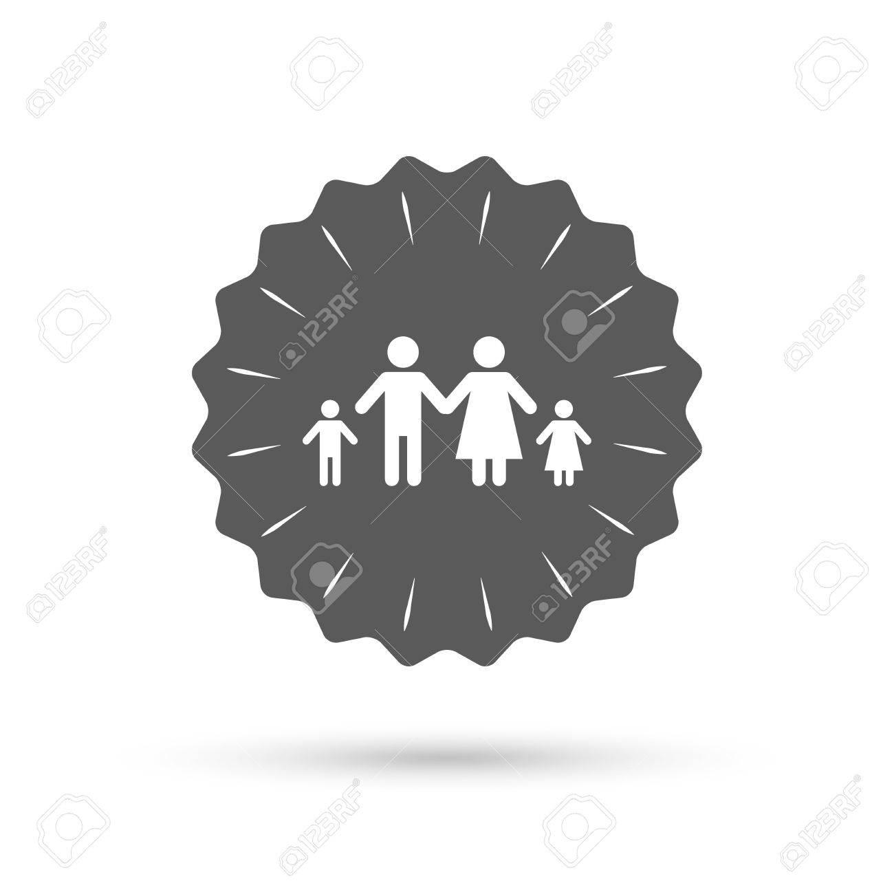 Medalla De Emblema De La Vendimia Familia Con Dos Hijos Icono De La
